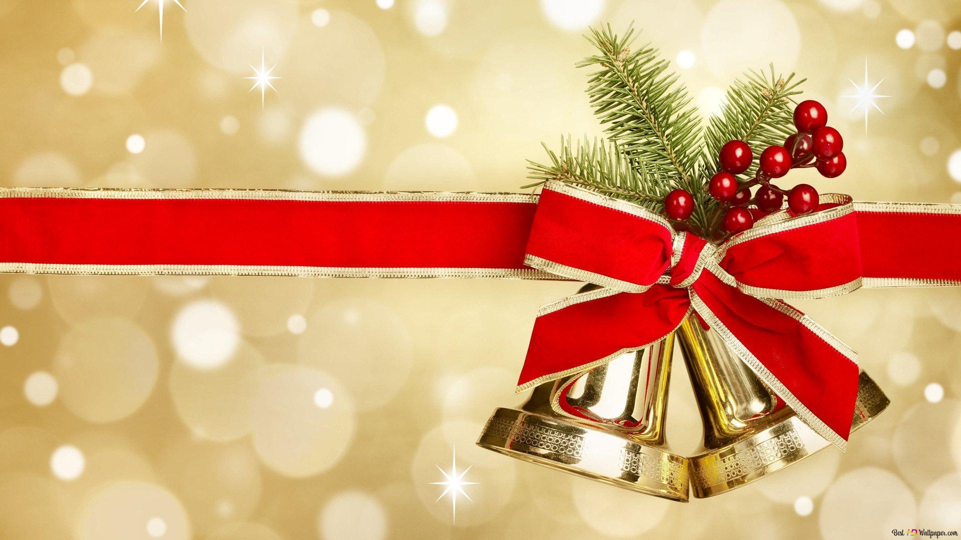 Christmas Bells And Mistletoe Hd Wallpaper Download