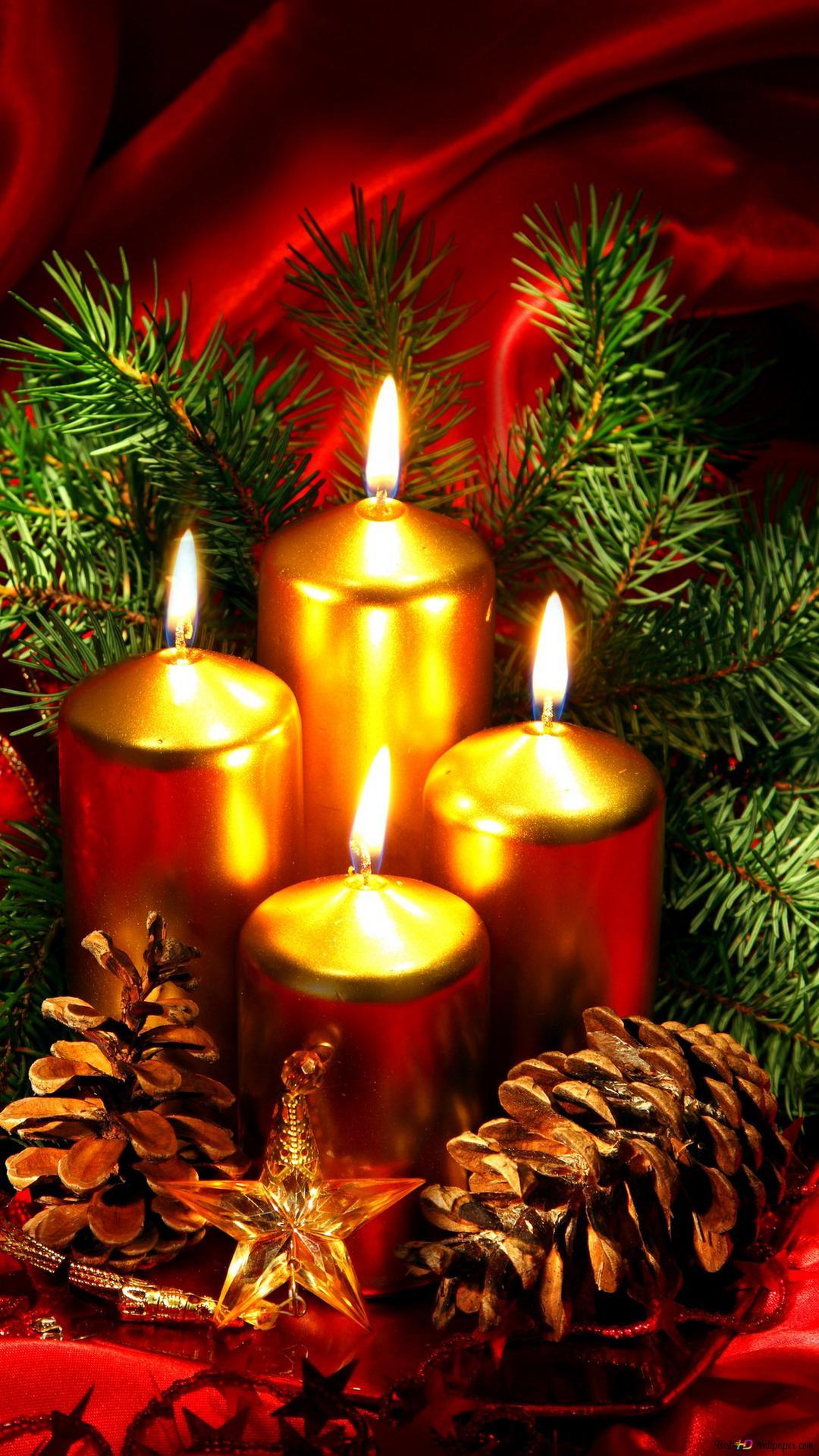 Christmas Candles Hd Wallpaper Download