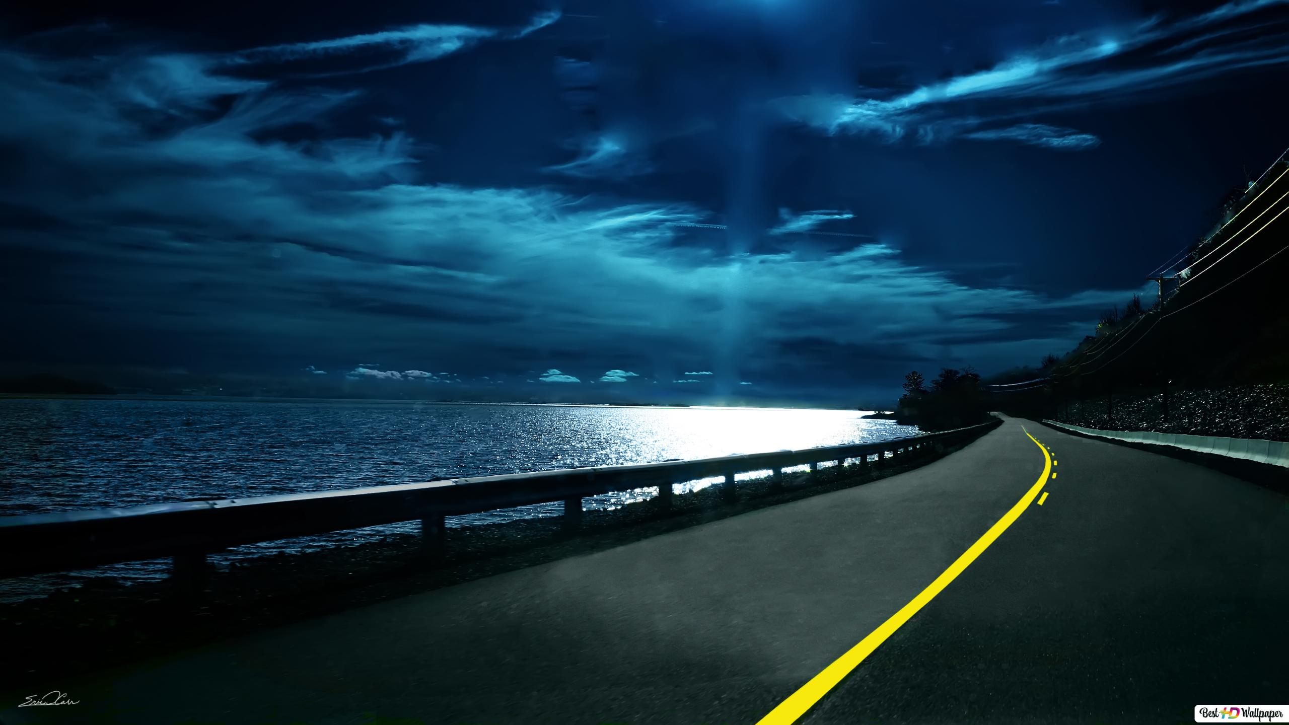 Cielo Blu Notte E Il Modo Download Di Sfondi Hd