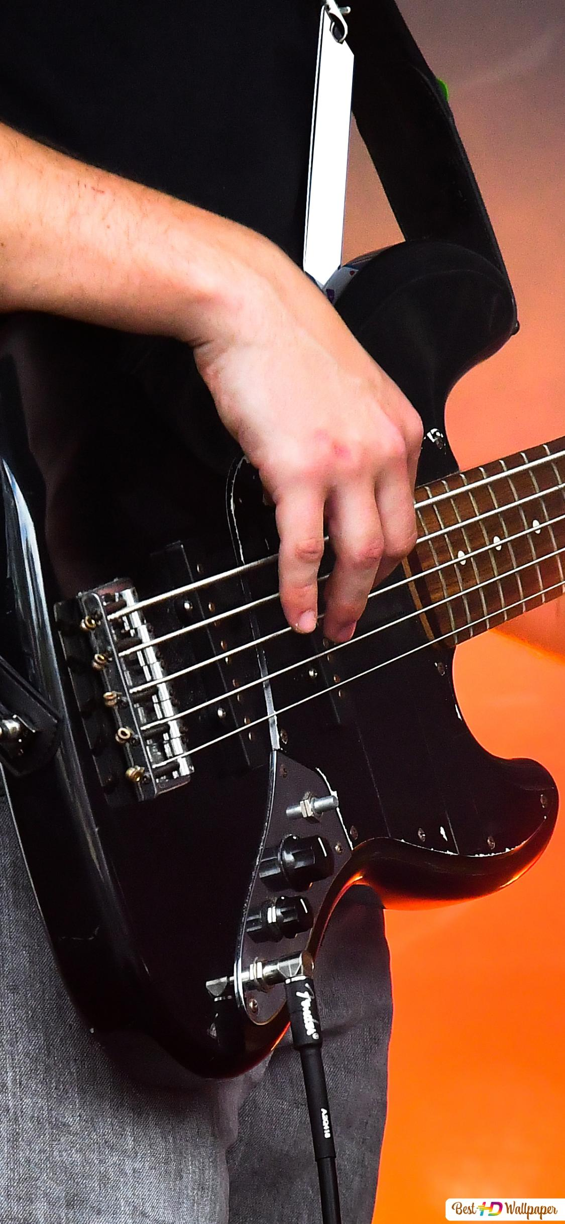 Close Up Of Bass Guitar Player Grooving On Stage Hd