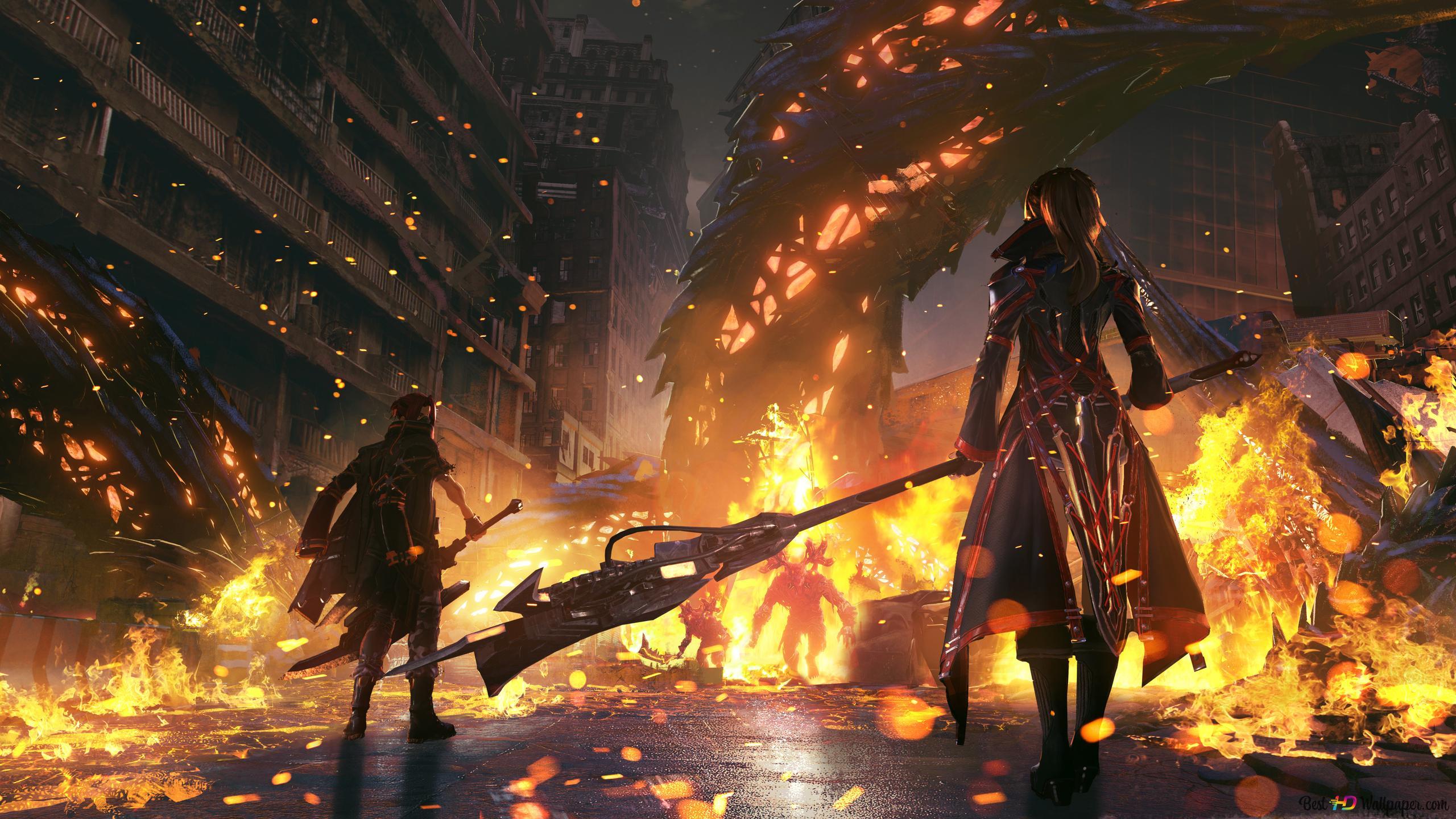 Code Vein 2019 City In Fire Hd Wallpaper Download