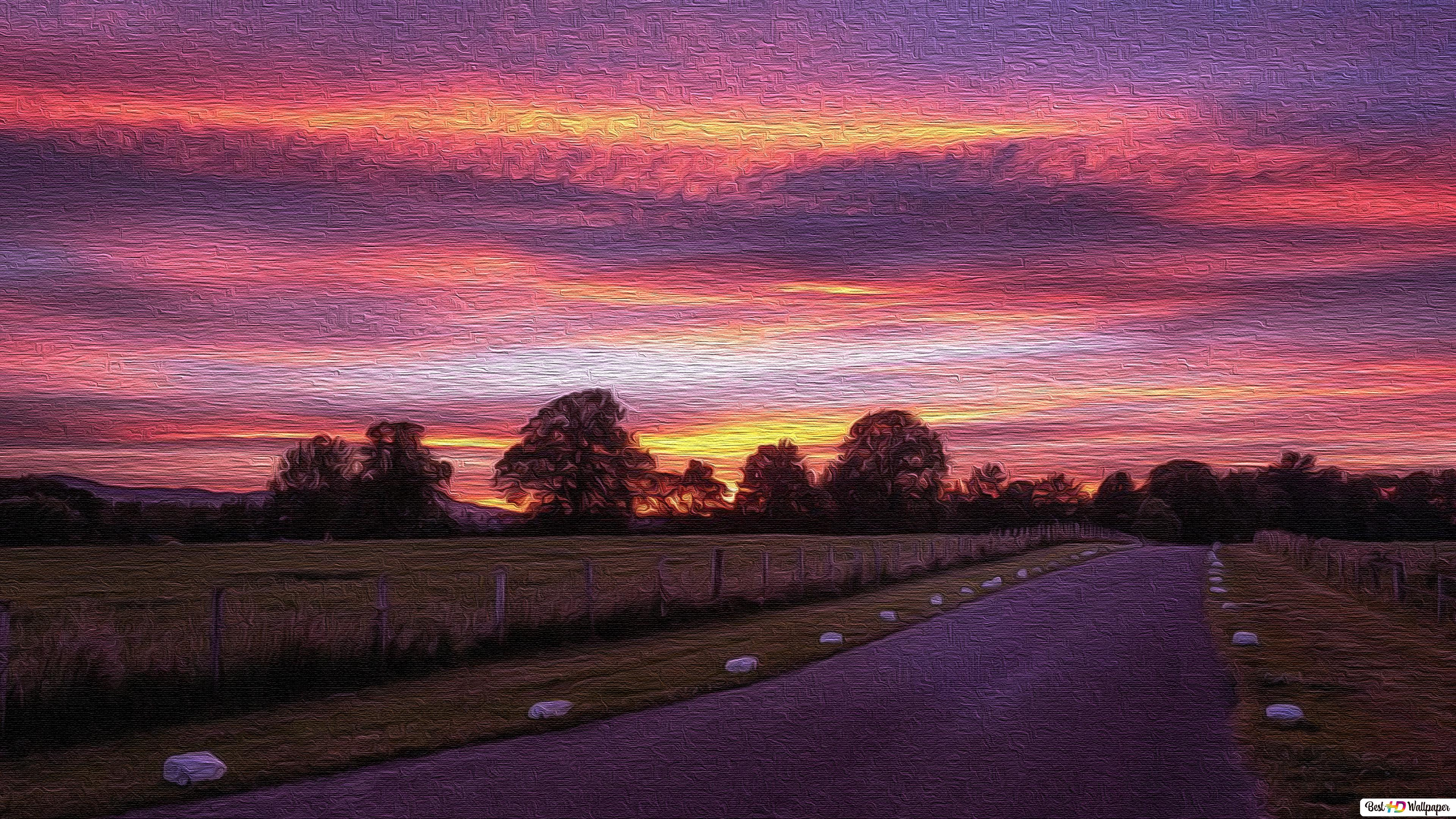 Country road sunset HD wallpaper download