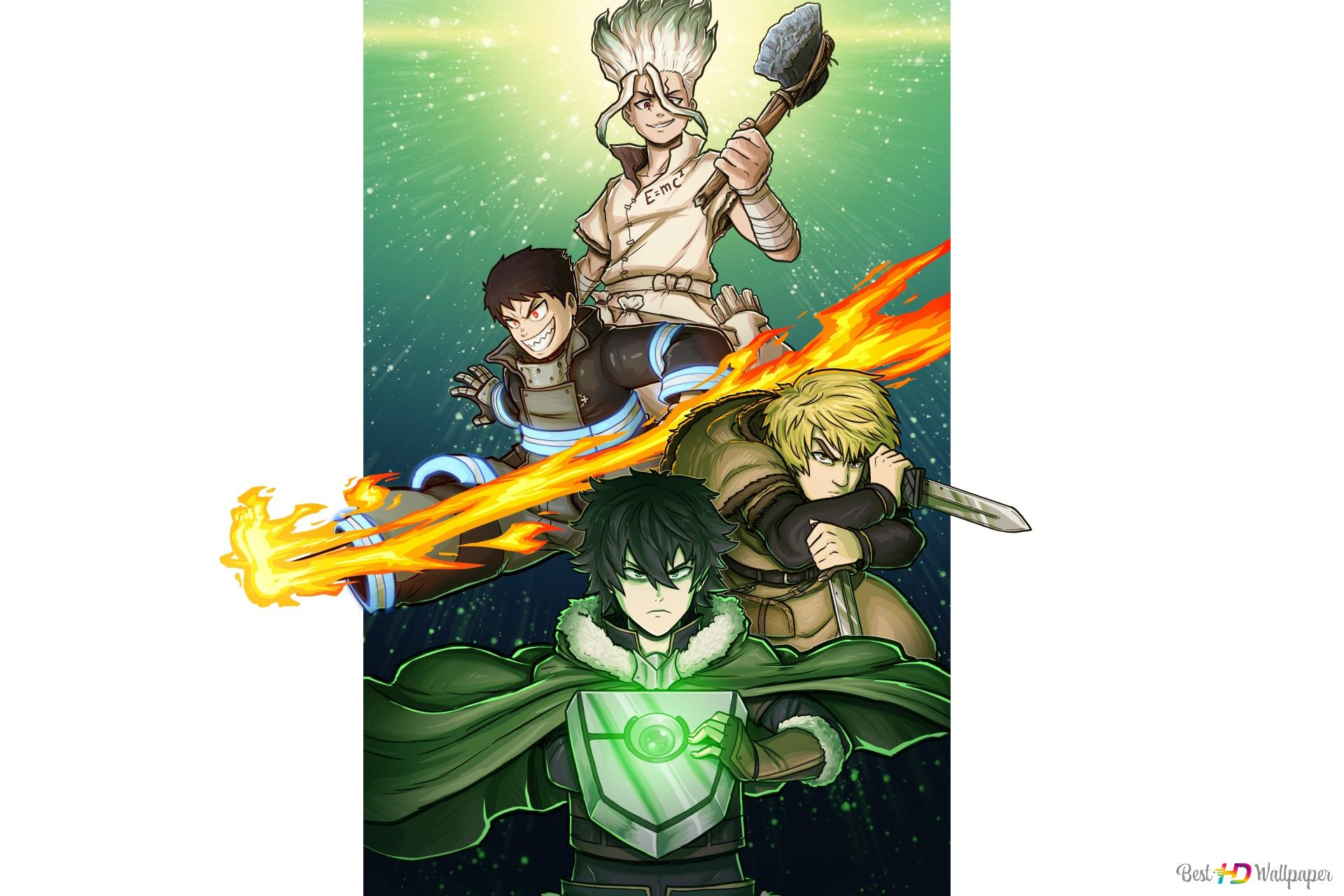 Crossover Dr Stone Fire Force Vinland Saga The Rising Of The Shield Hero Hd Wallpaper Download