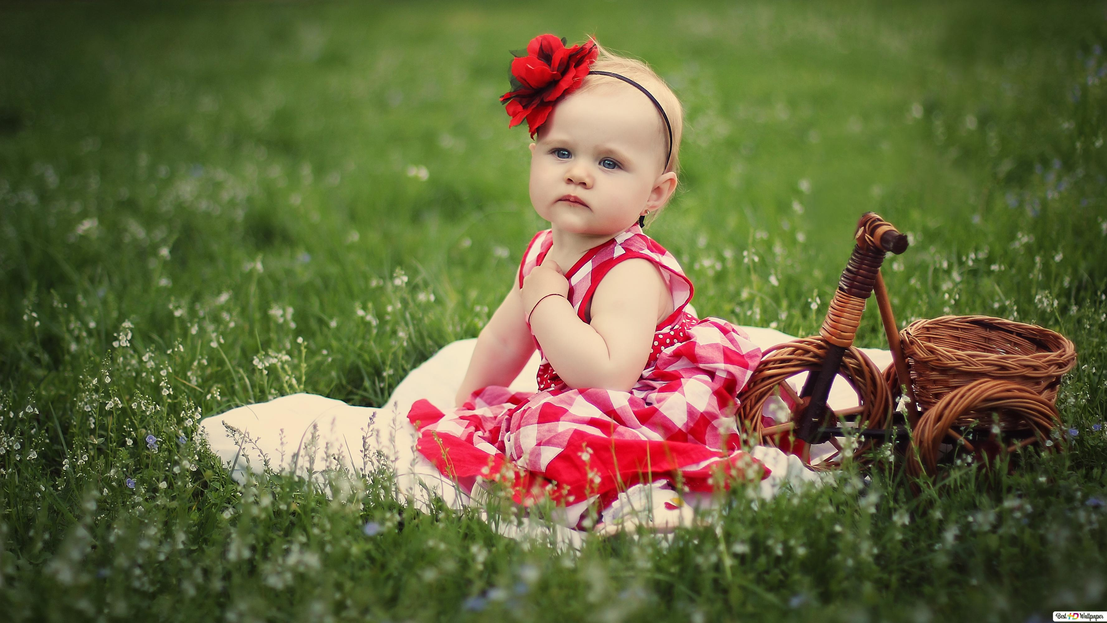 Cute Baby Girl In The Field Hd Wallpaper Download