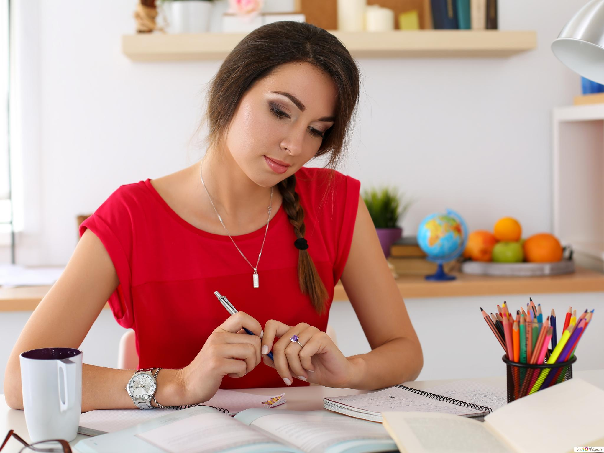 Cute Girl Studying HD wallpaper download