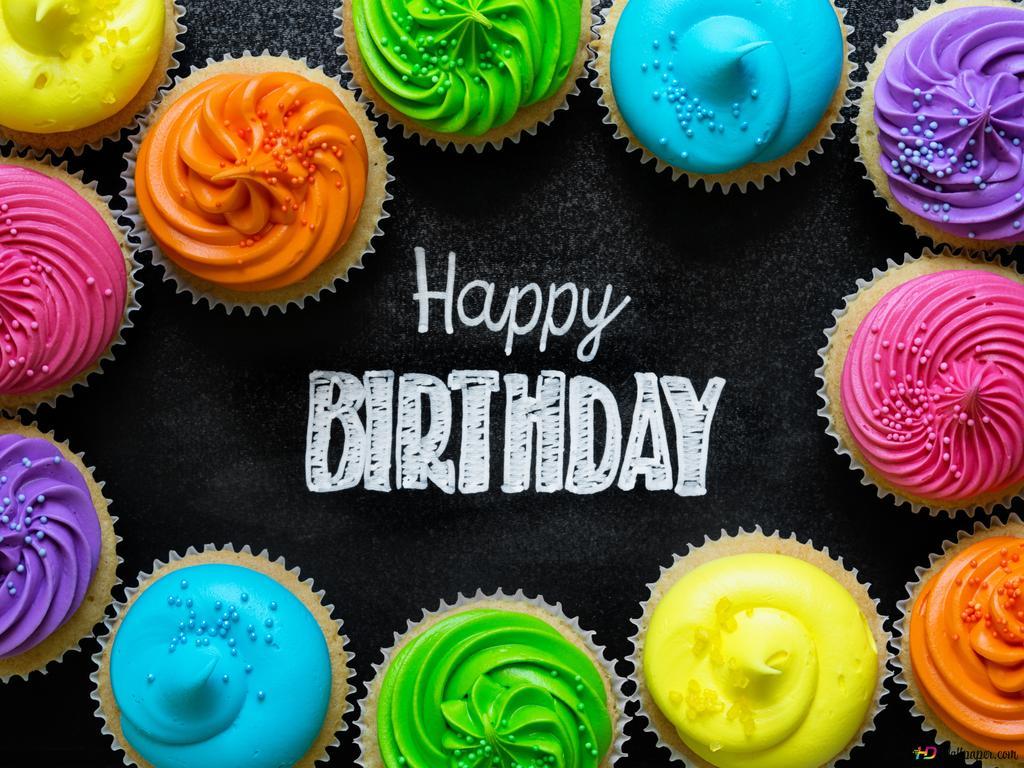 誕生日の色のカップケーキ Hd壁紙のダウンロード