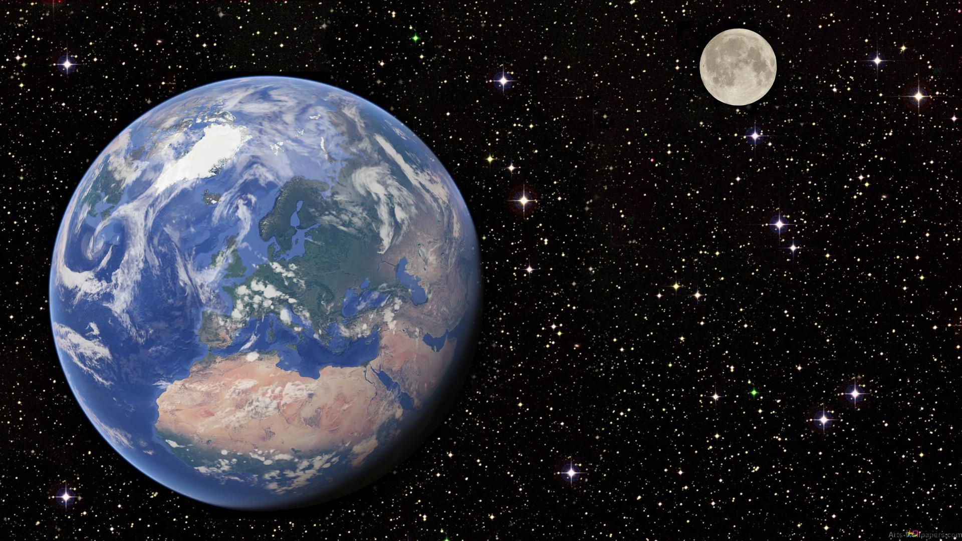 Dans L Espace La Terre Et La Lune Hd Fond D Ecran Telecharger