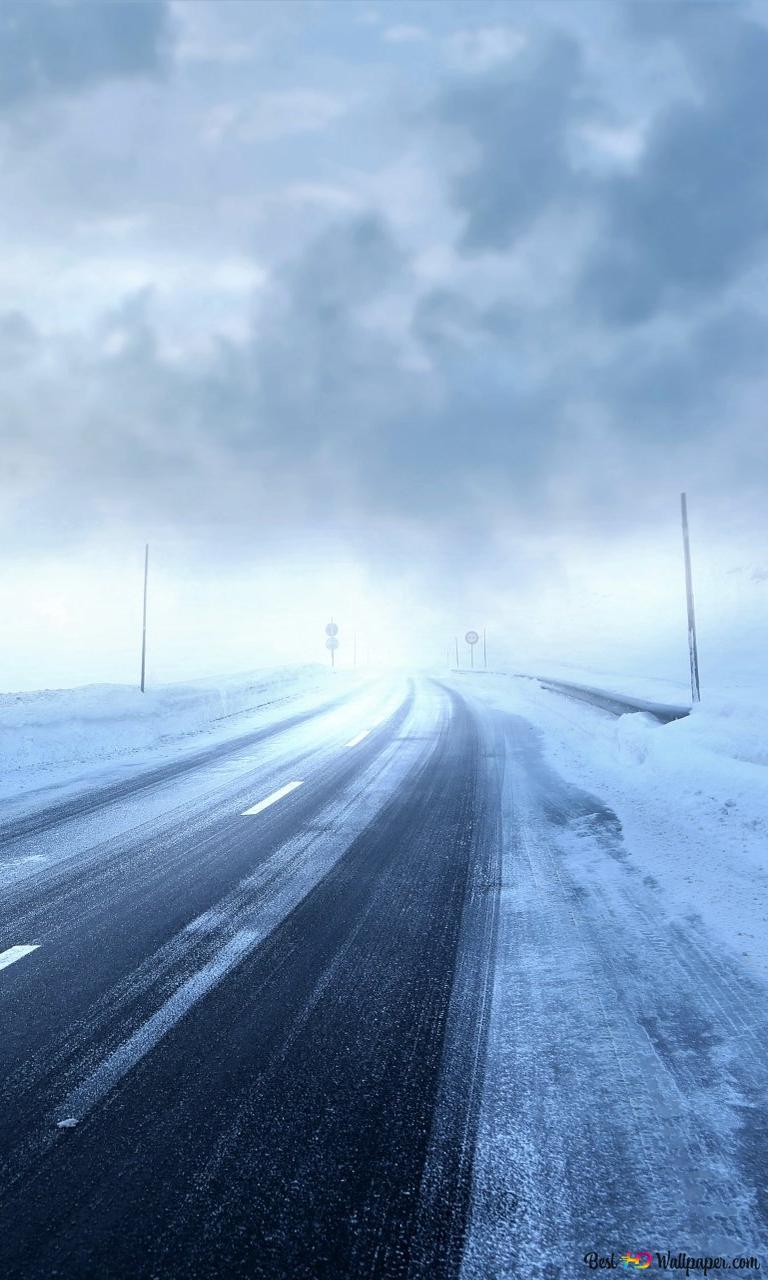 道路の冬の嵐 Hd壁紙のダウンロード