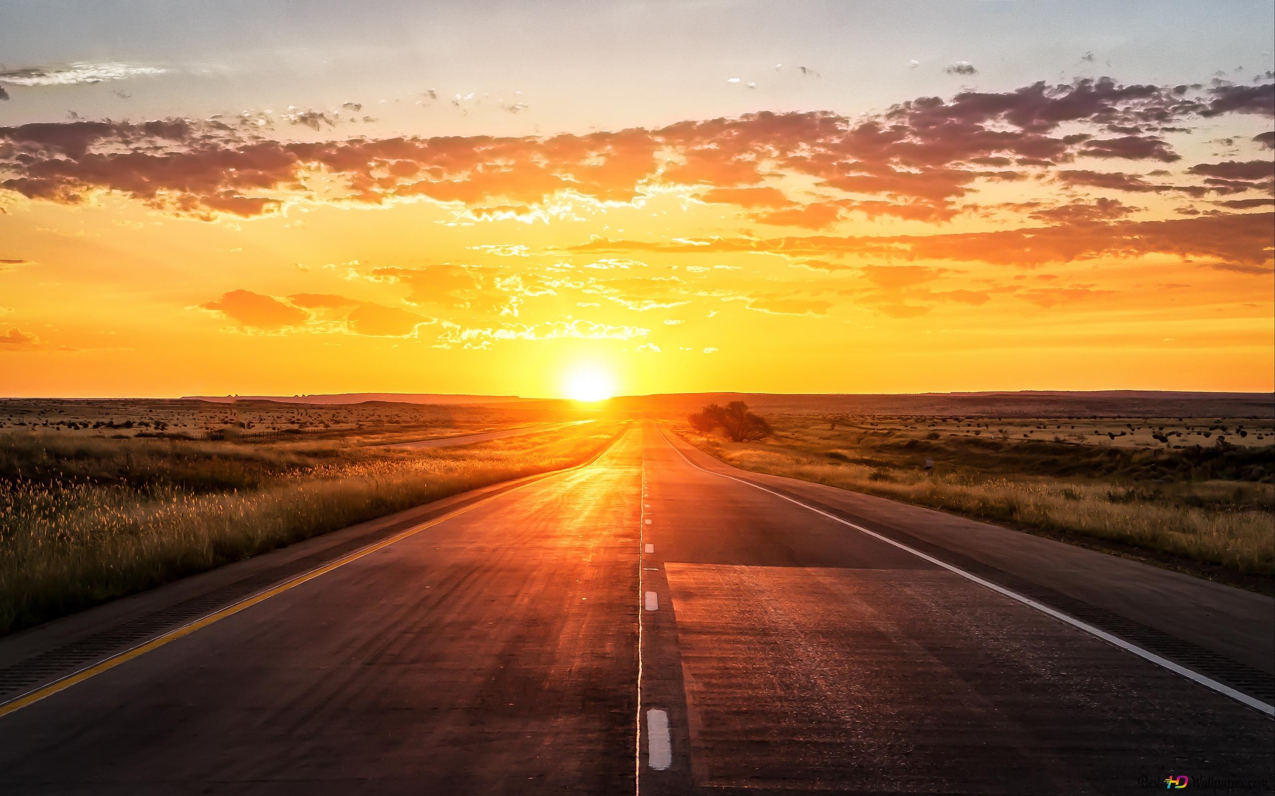 道と夕日 Hd壁紙のダウンロード