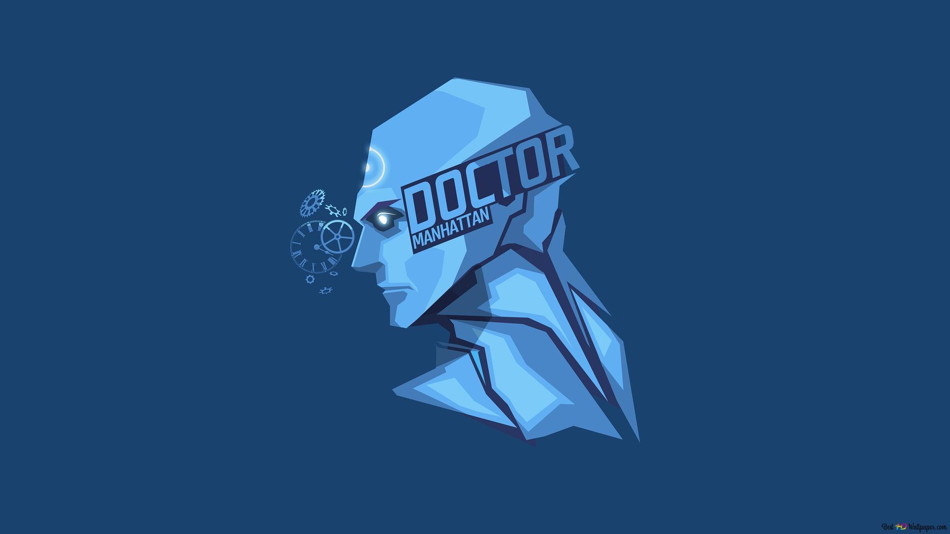 Dc Comics Doctor Manhattan Minimalist Blue Wallpaper Background Hd