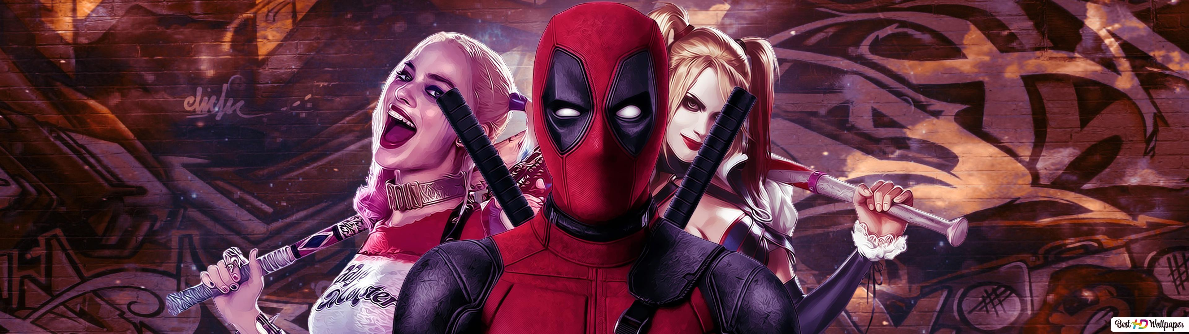 Deadpool And Harley Quinn Crossover Hd Wallpaper Download
