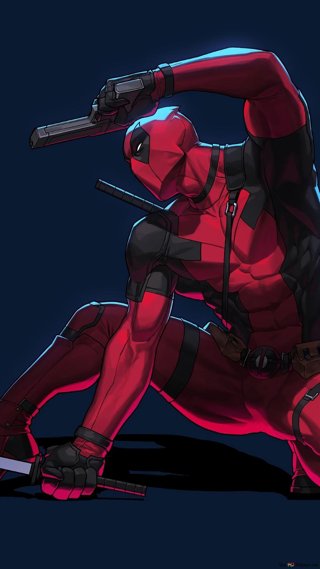 Deadpool武士刀和槍簡約高清壁紙下載