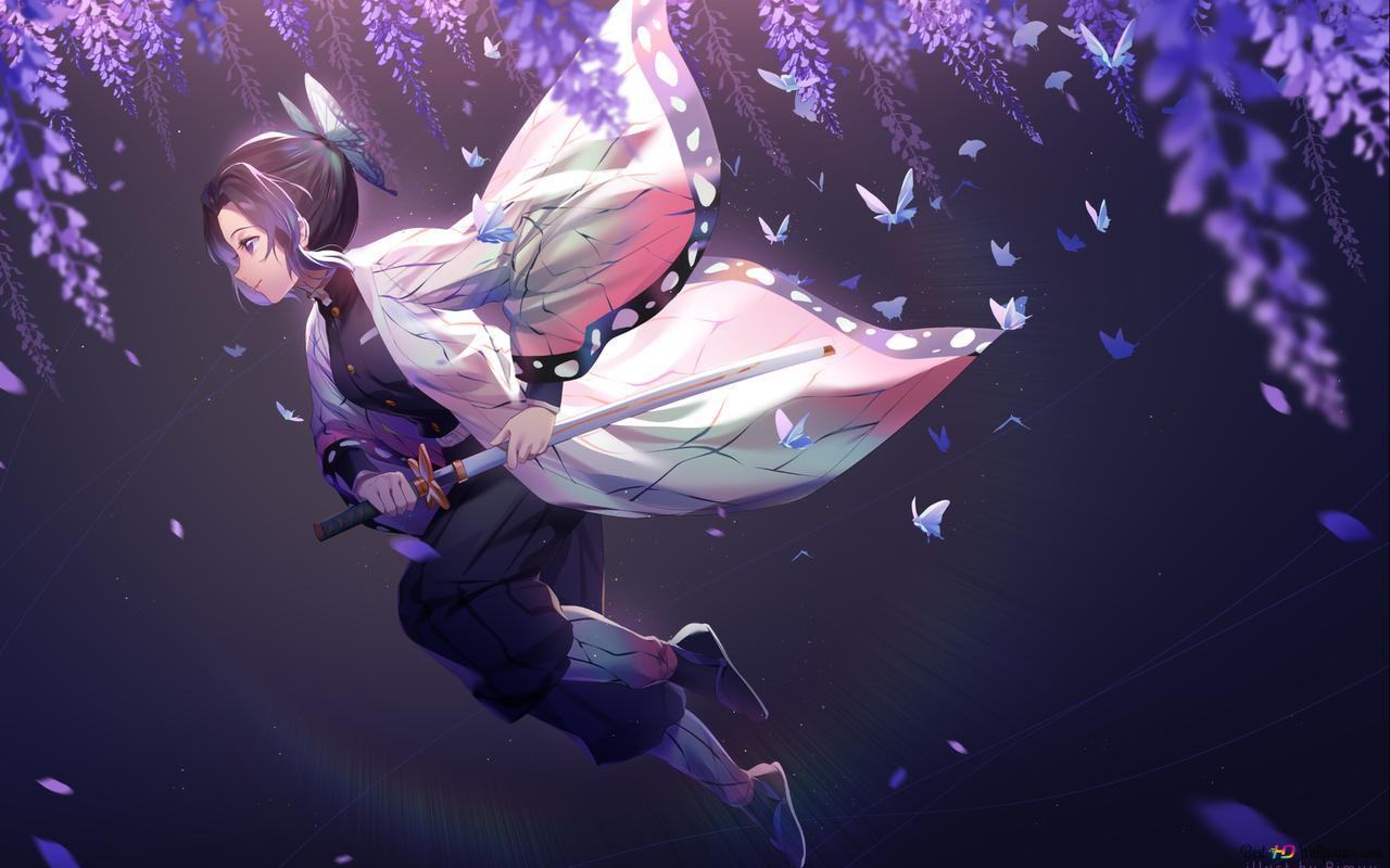 デーモンスレイヤー 忍の蝶や紫の藤の花 Hd壁紙のダウンロード