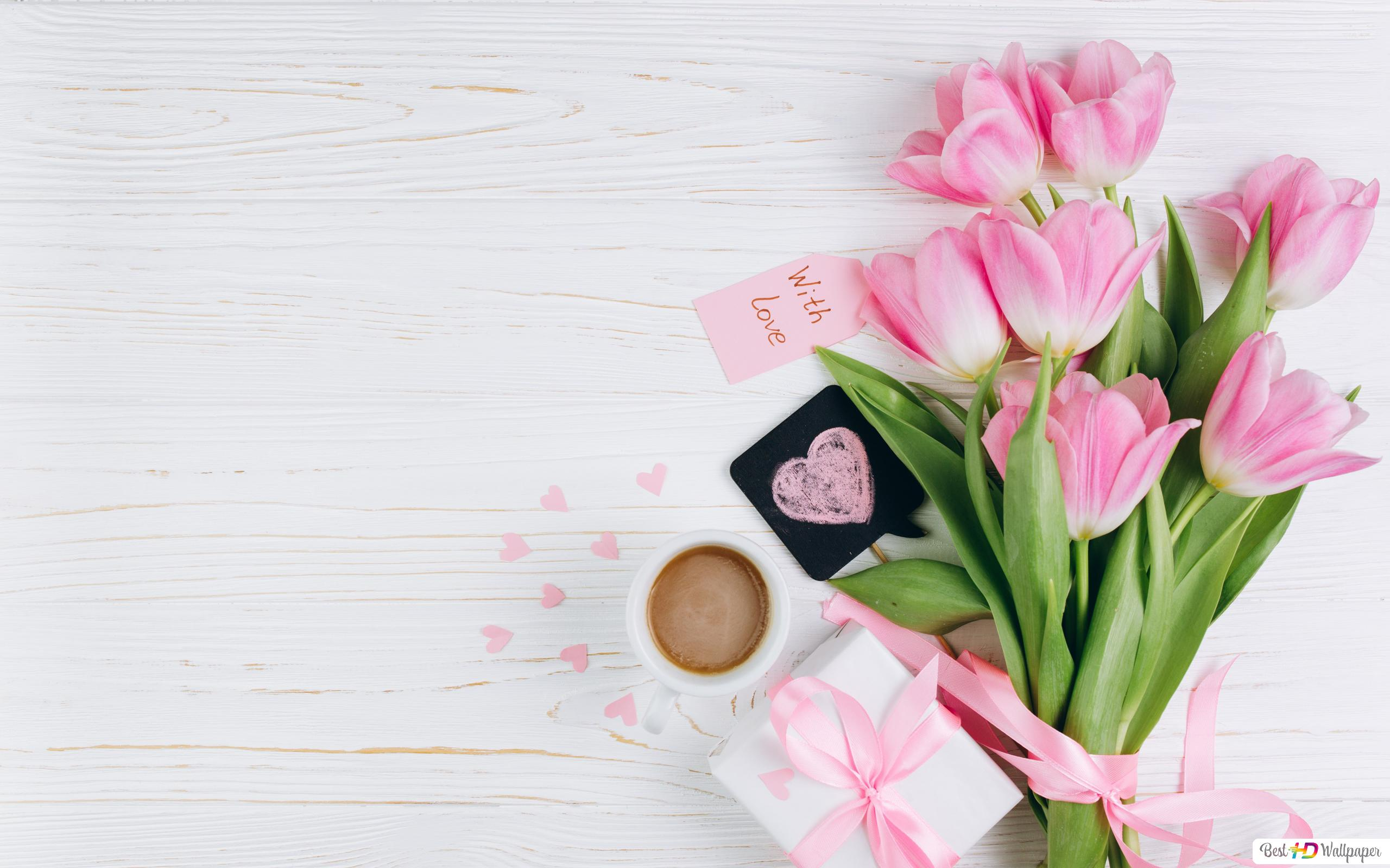 Fondo De Pantalla Dia De San Valentin Regalo Con Rosa: Descargar Fondo De Pantalla Día De San Valentín