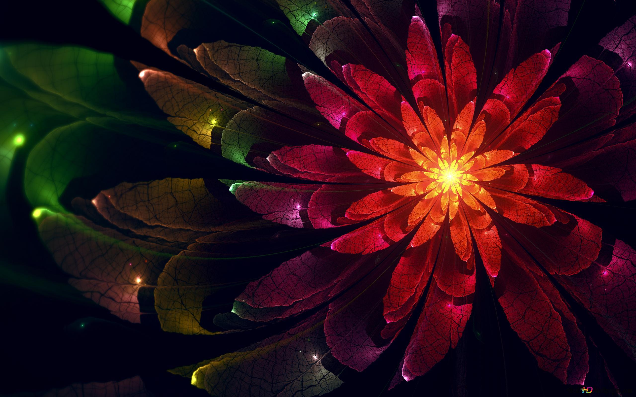 Digital Fractal Flower Hd Wallpaper Download