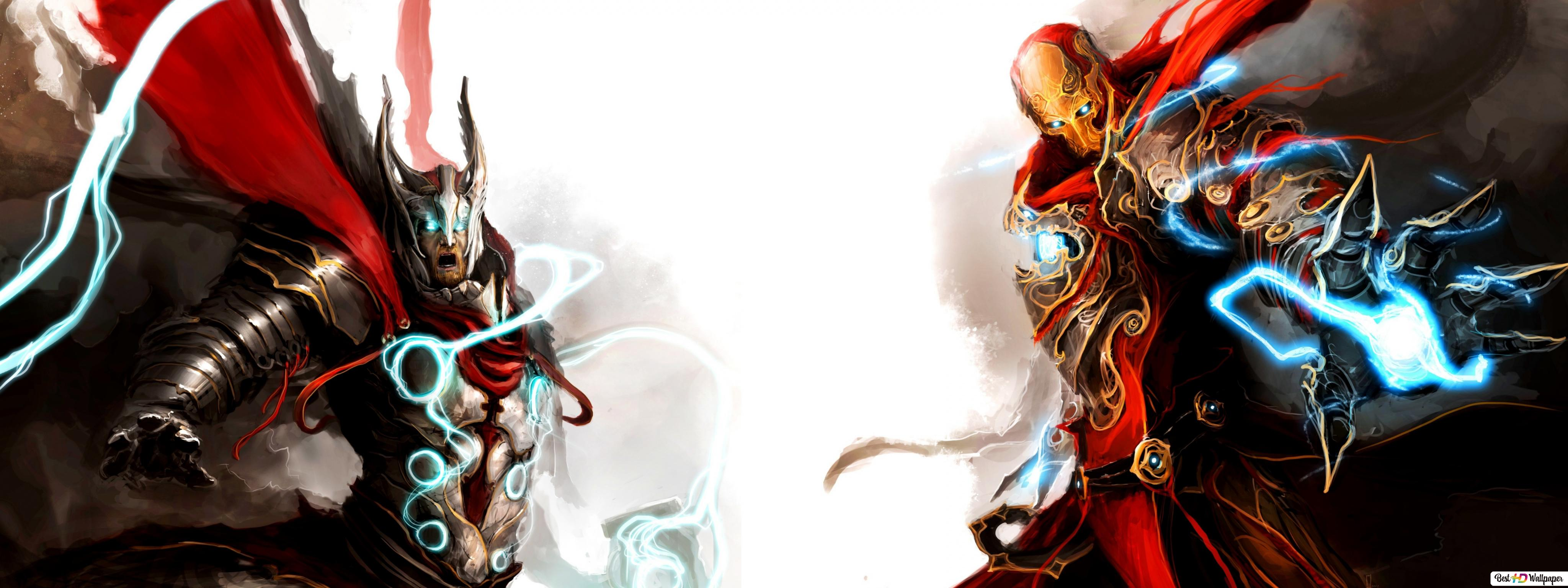 Digital Thor And Iron Man Hd Wallpaper Download