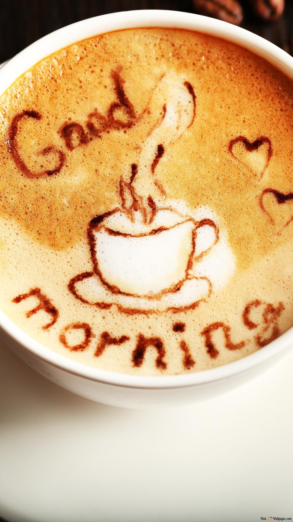 Открытки с добрым утром с кофейной тематикой, надписью цвет