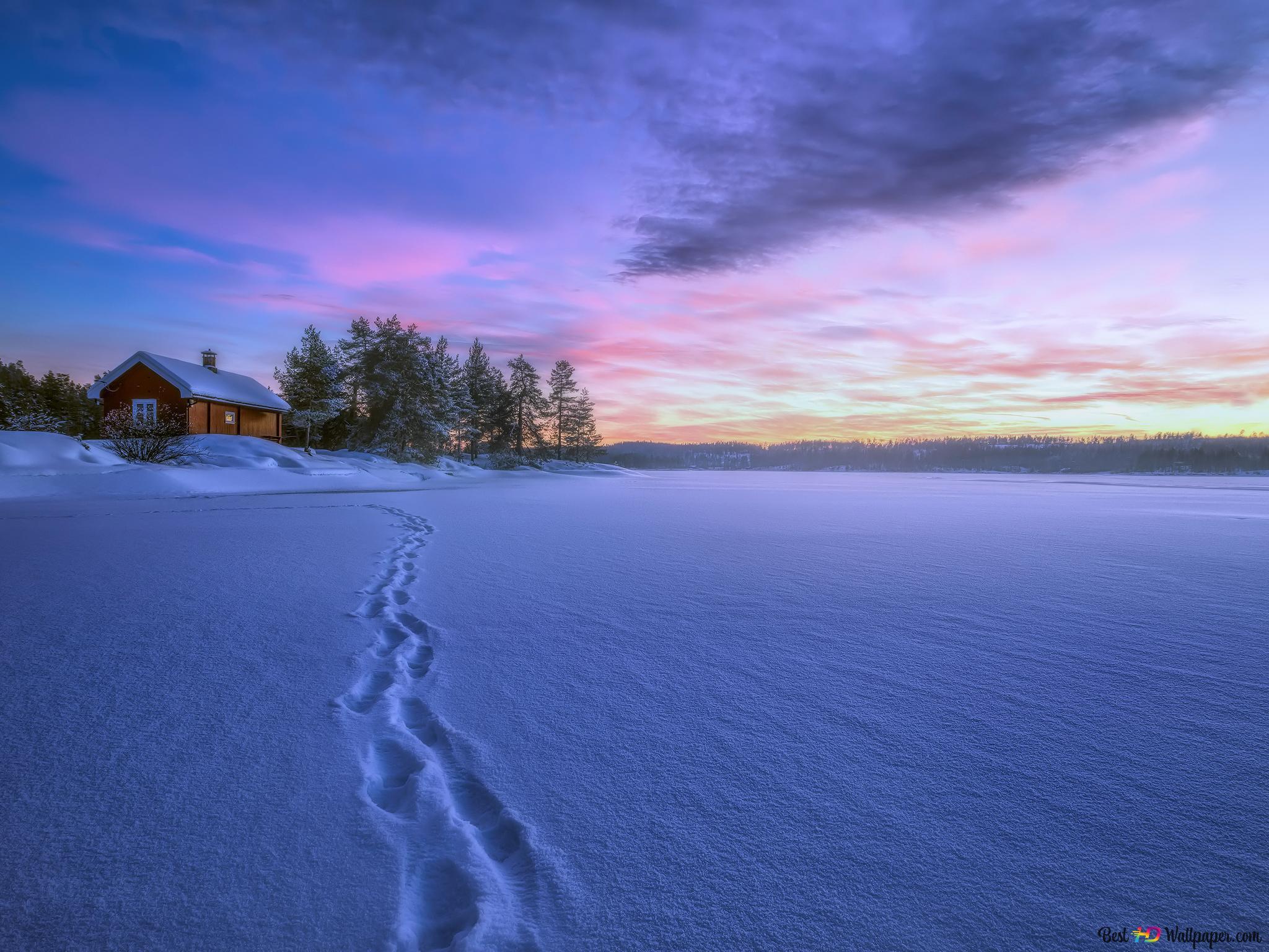 冬のキャビンと夕日 Hd壁紙のダウンロード