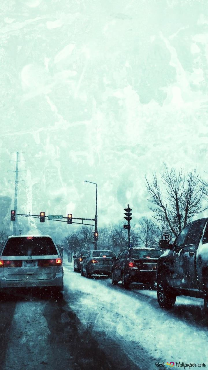 冬の嵐でのトラフィック Hd壁紙のダウンロード