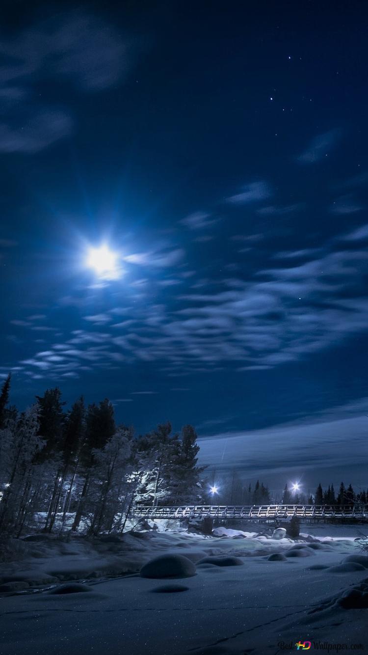 冬の美しい夜 Hd壁紙のダウンロード