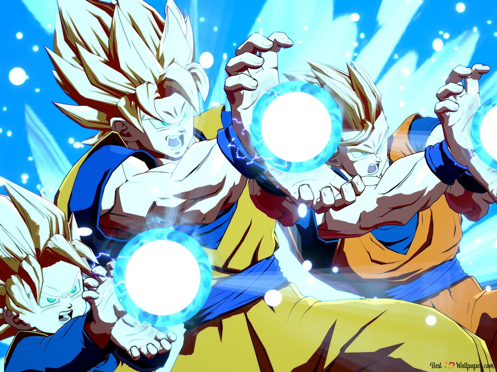 Dragon Ball Fighterz Goten Goku Gohan Kamehameha Unduhan Wallpaper Hd