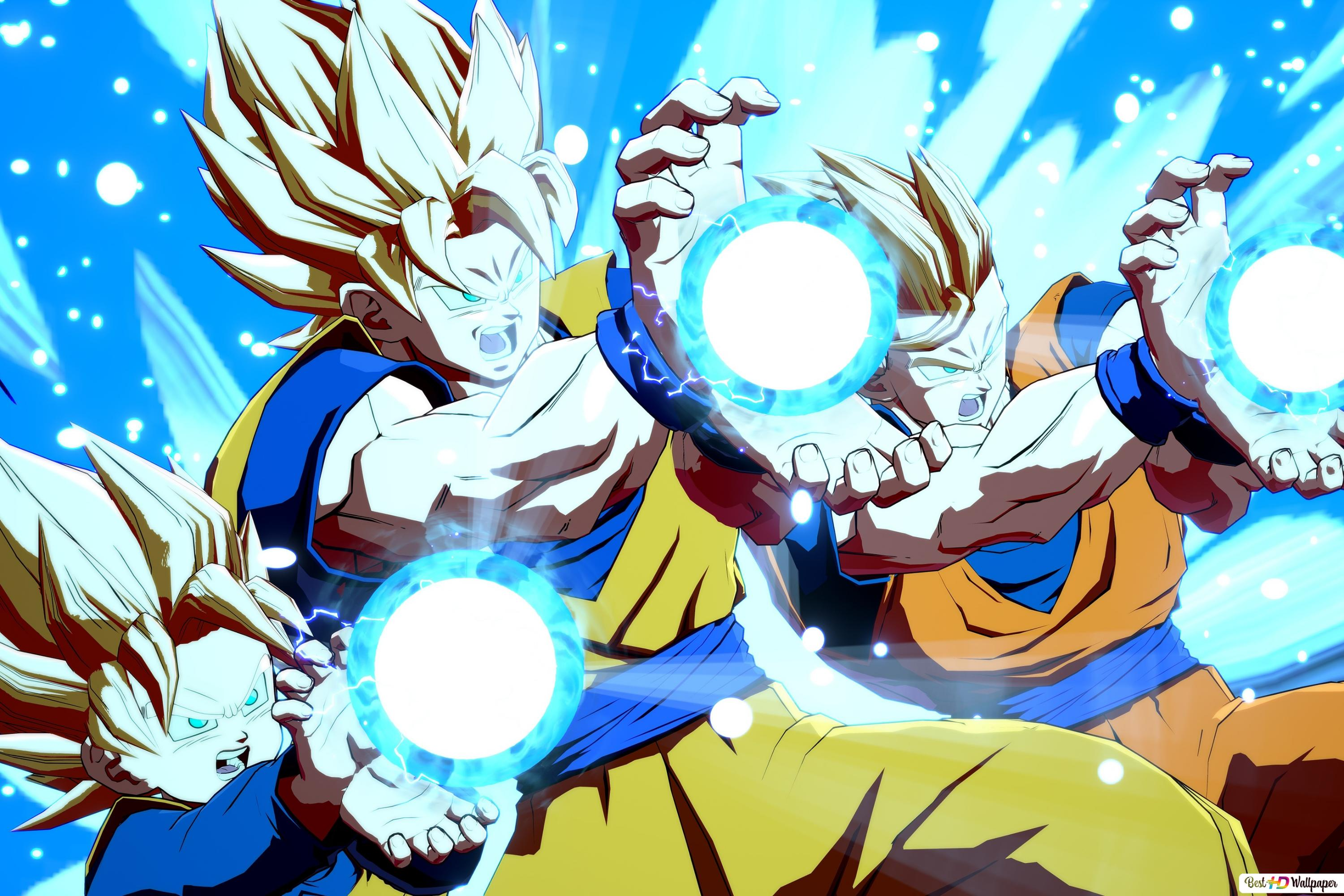 Dragon Ball Fighterz Goten Goku Gohan Kamehameha Hd Wallpaper