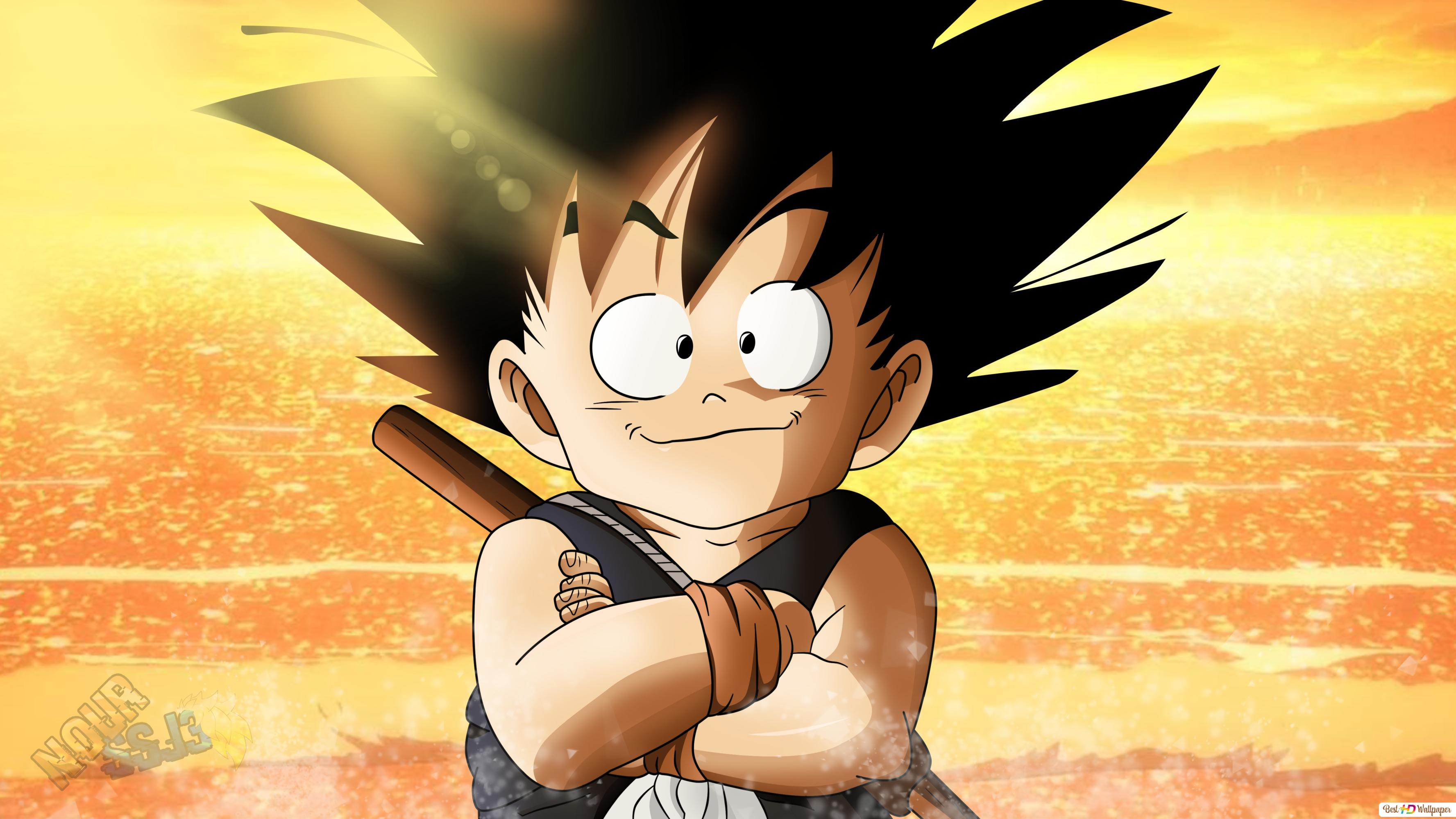 Dragon Ball Z Kid Goku Sea Sunset Hd Wallpaper Download