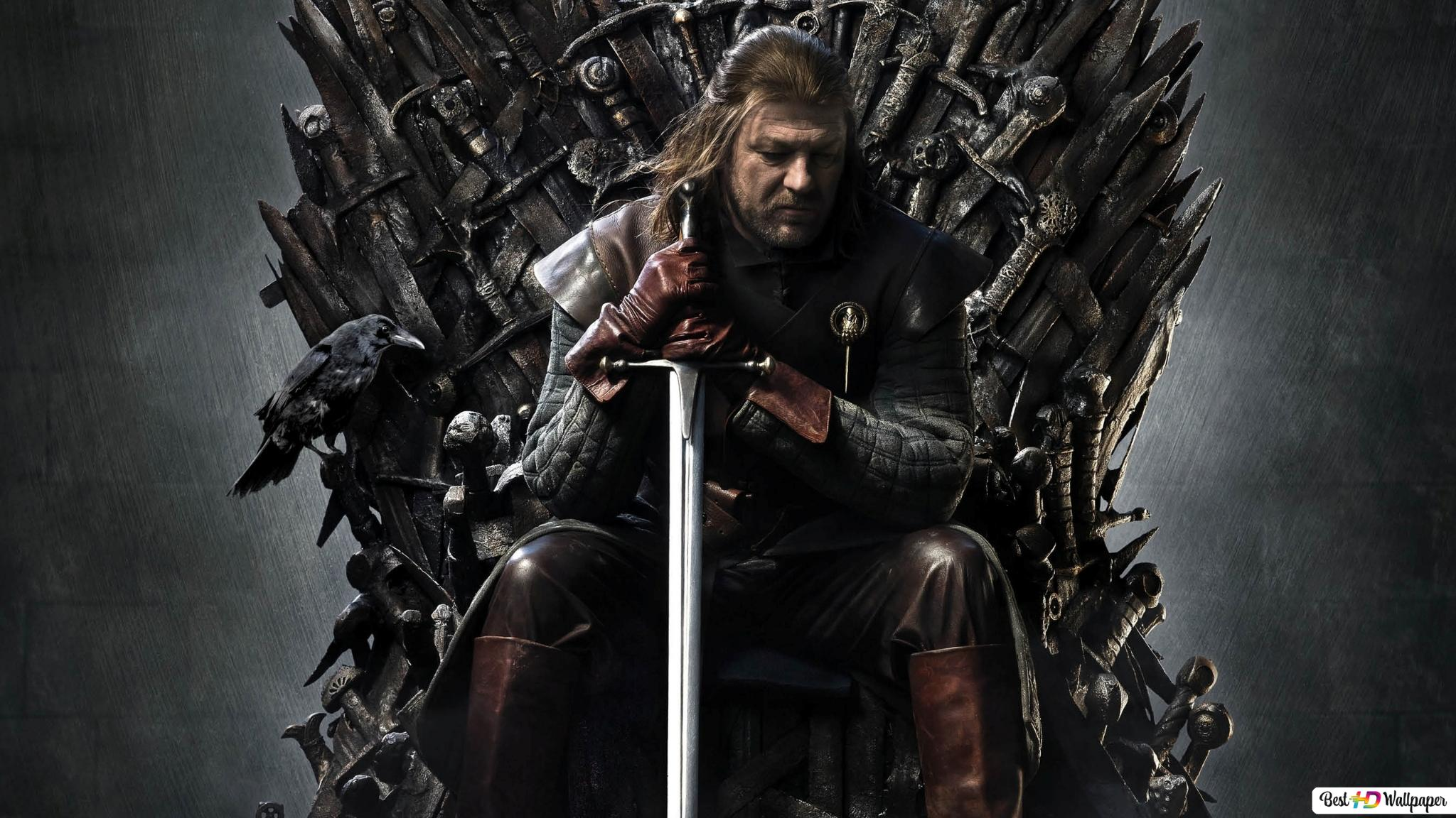 Eddard Stark On The Iron Throne Hd Wallpaper Download