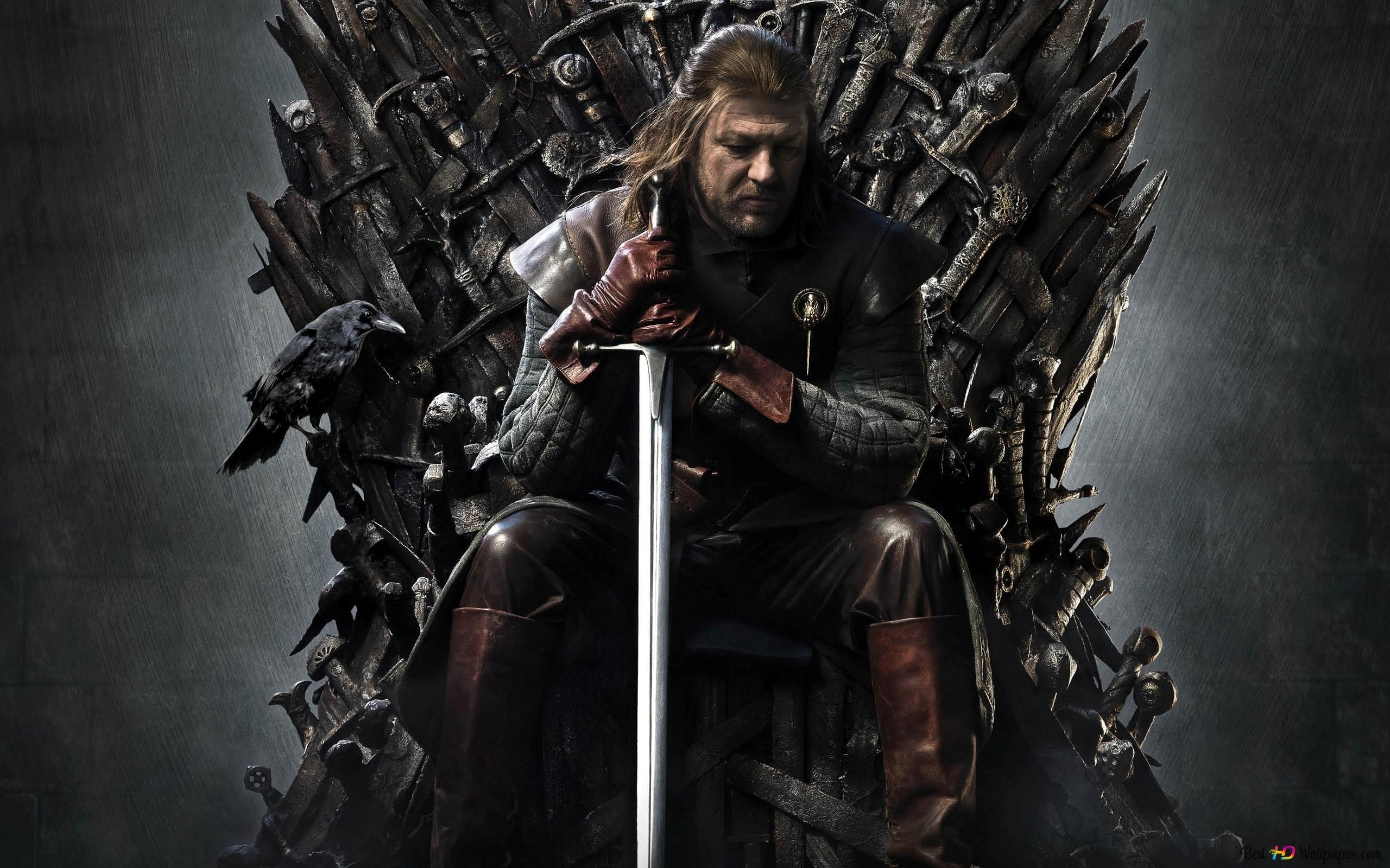 Eddard Stark Sul Trono Di Ferro Download Di Sfondi Hd
