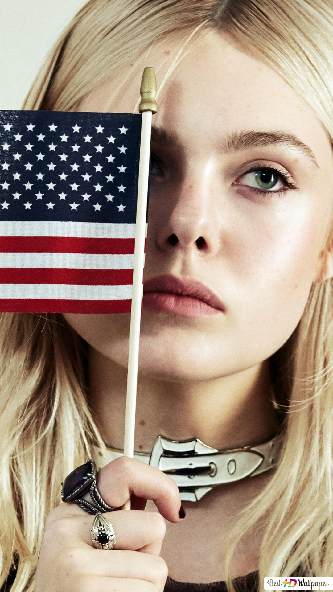 Elle Fanning With The American Flag Hd Wallpaper Download