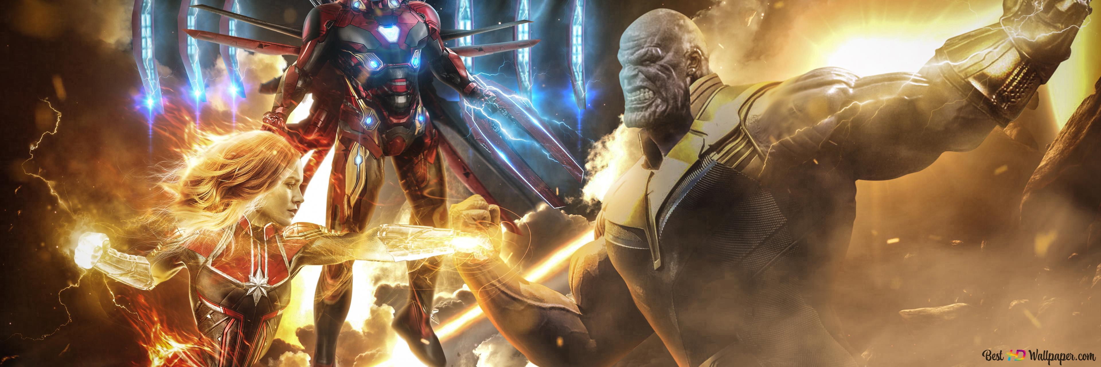 Endgame Thanos Vs Iron Man And Captain Marvel Hd Wallpaper Download