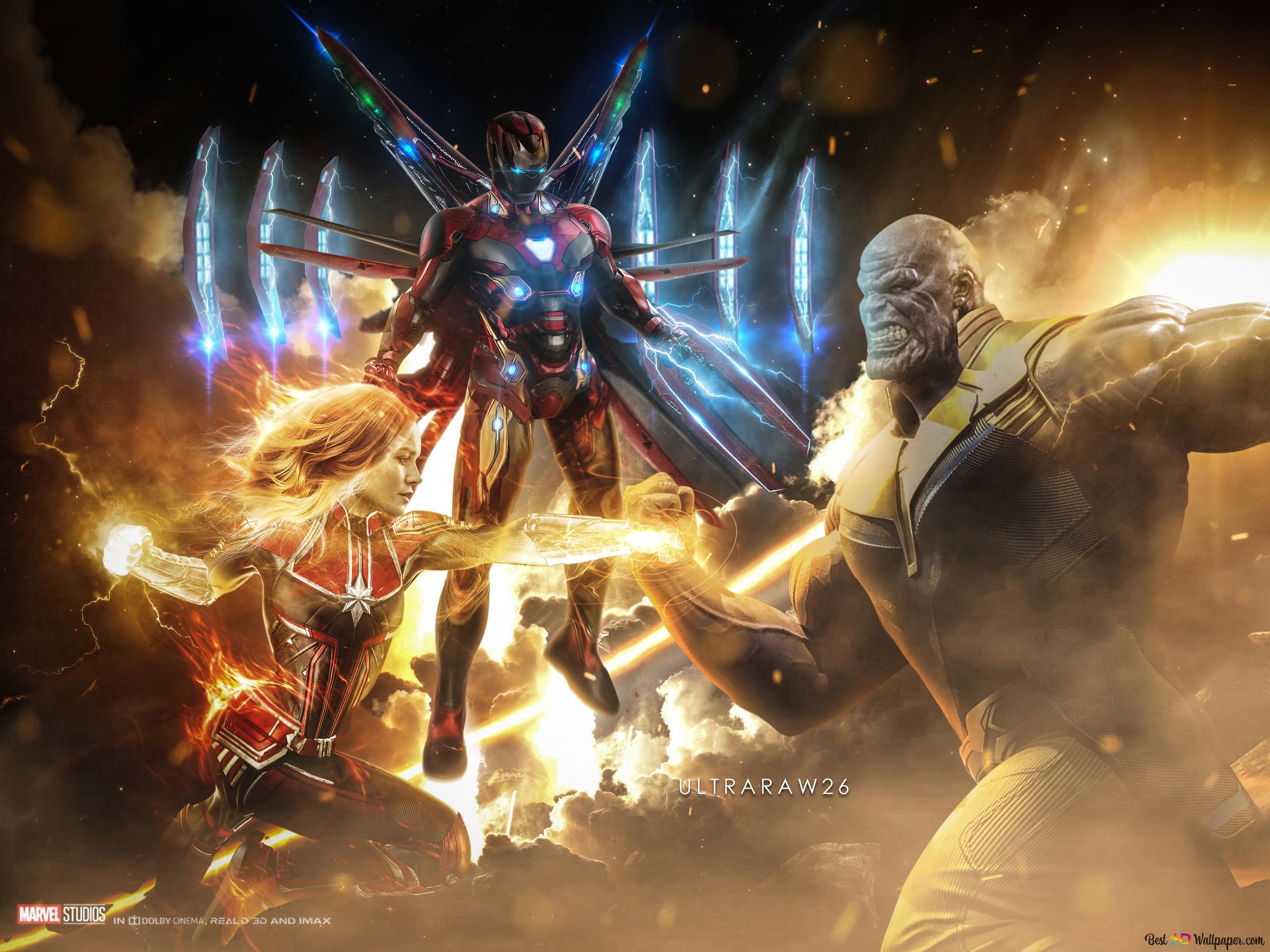 エンドゲーム サノスアイアンマンとキャプテンマーベル対 Hd壁紙の