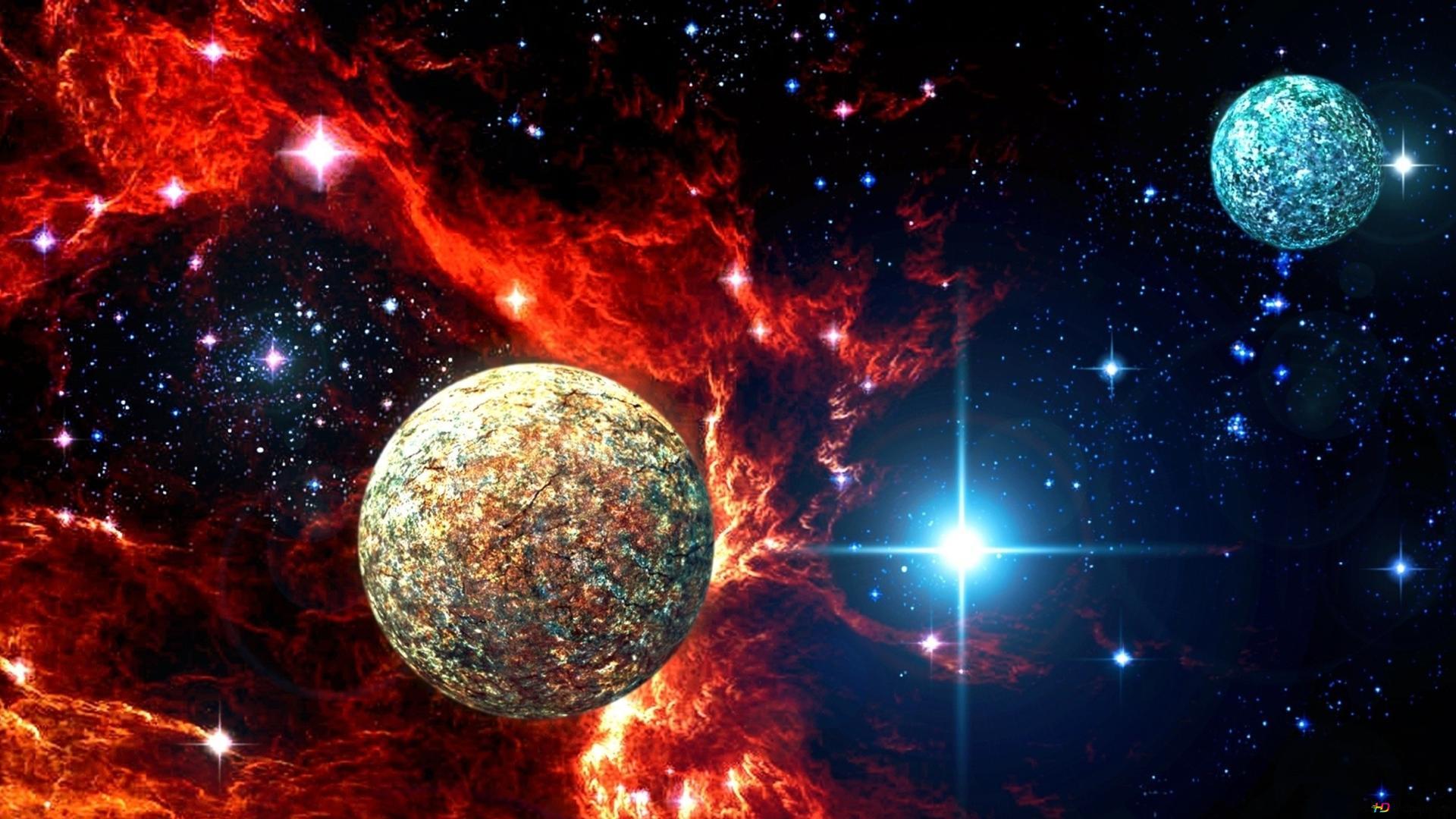 Espace Nebuleuse Et Planetes Hd Fond D Ecran Telecharger