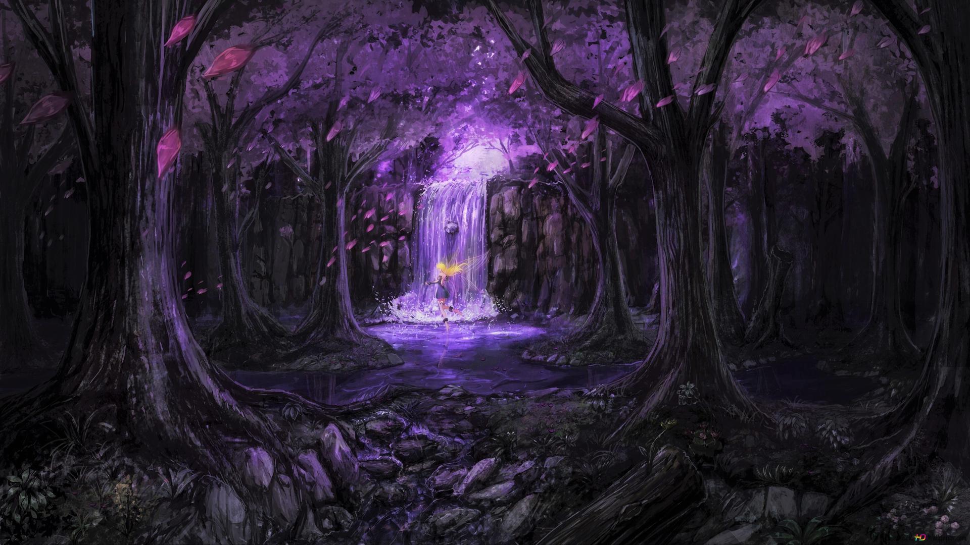 Fairy In Purple Fantasy Forest Hd Wallpaper Download