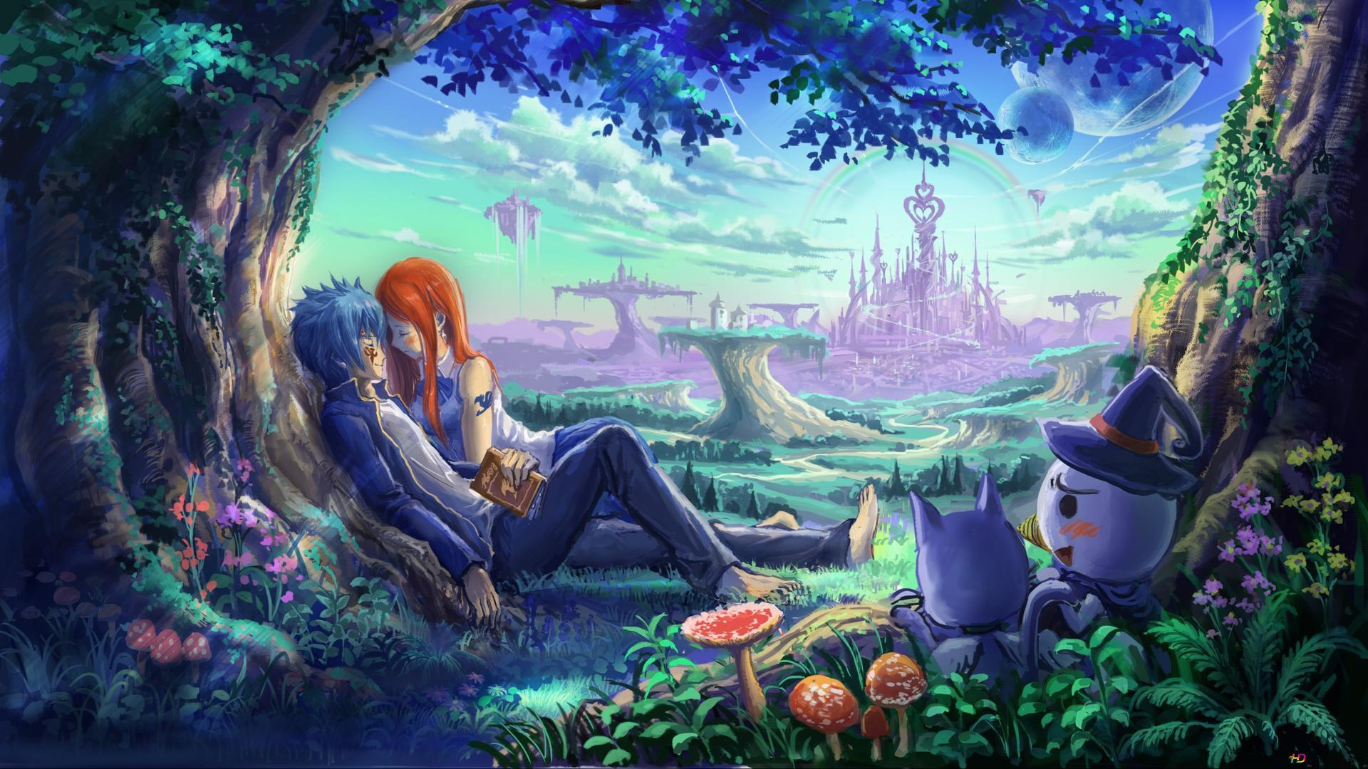 Fairy Tail Erza Scarlet Jellal Fernandes Glücklich White