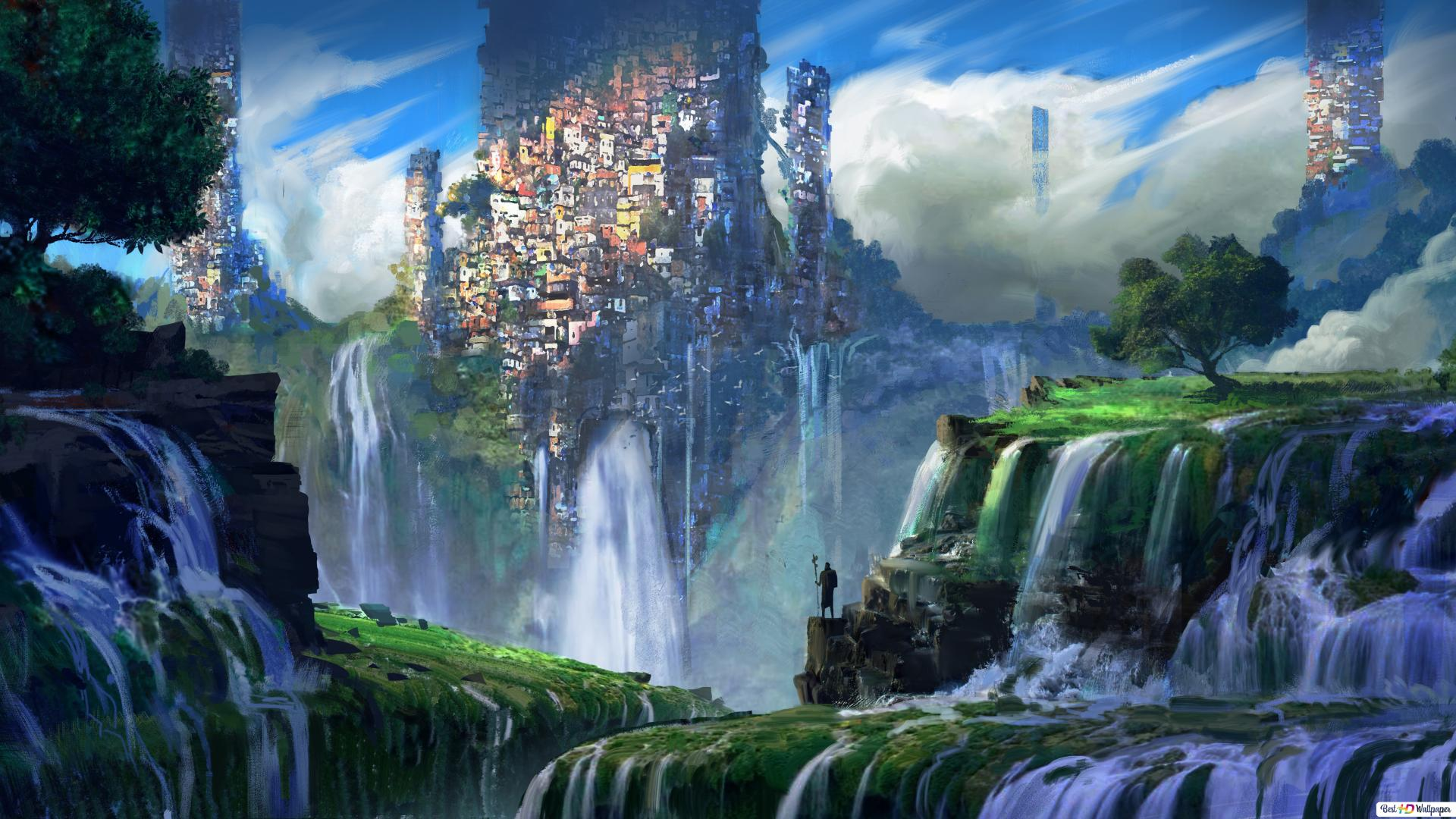 Fantasy City On Waterfall Hd Wallpaper Download