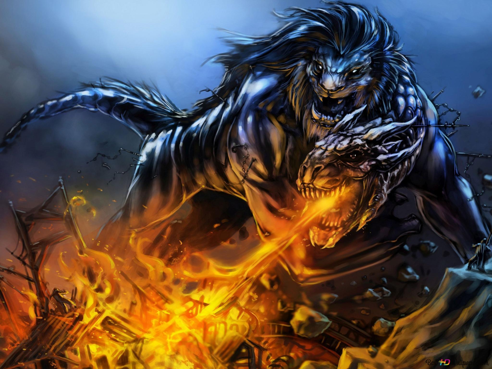 fantasy dragon and lion wallpaper 2048x1536 11683 26