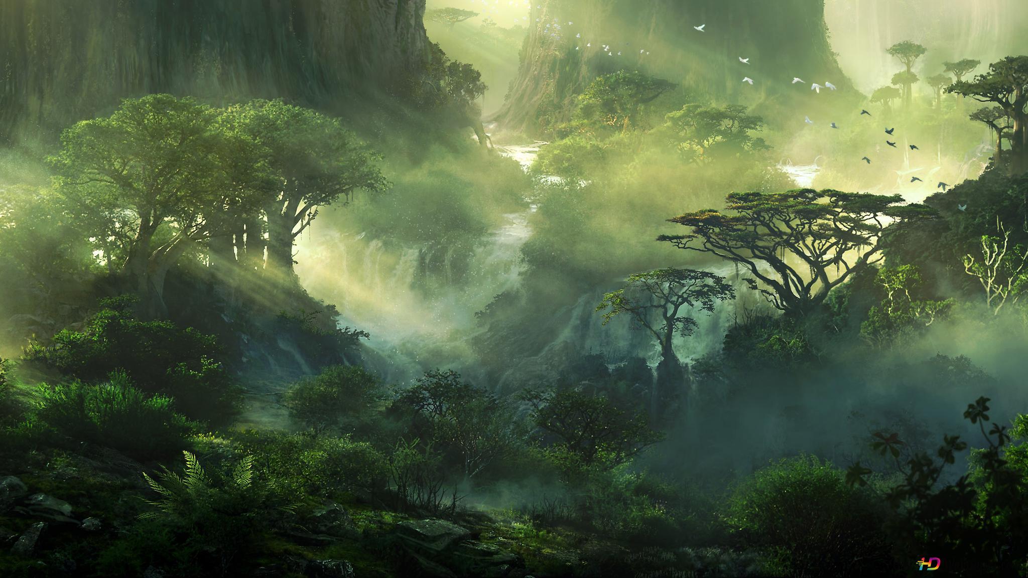 Fantasy Jungle Waterfalls Hd Wallpaper Download