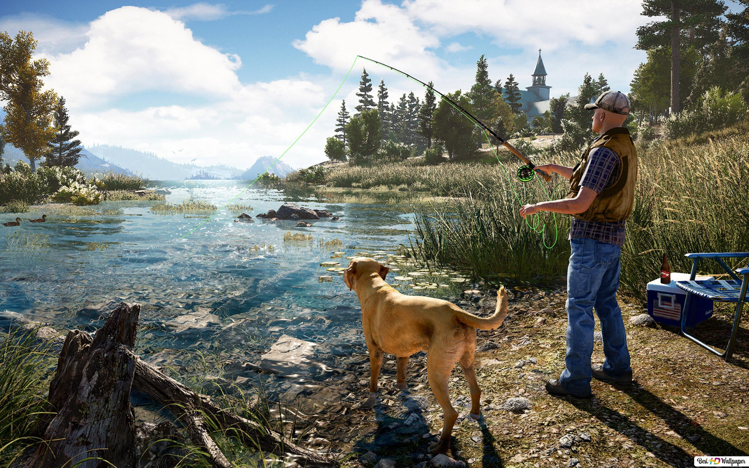 Far Cry 5 Game Man At The Fishing Hd Wallpaper Download