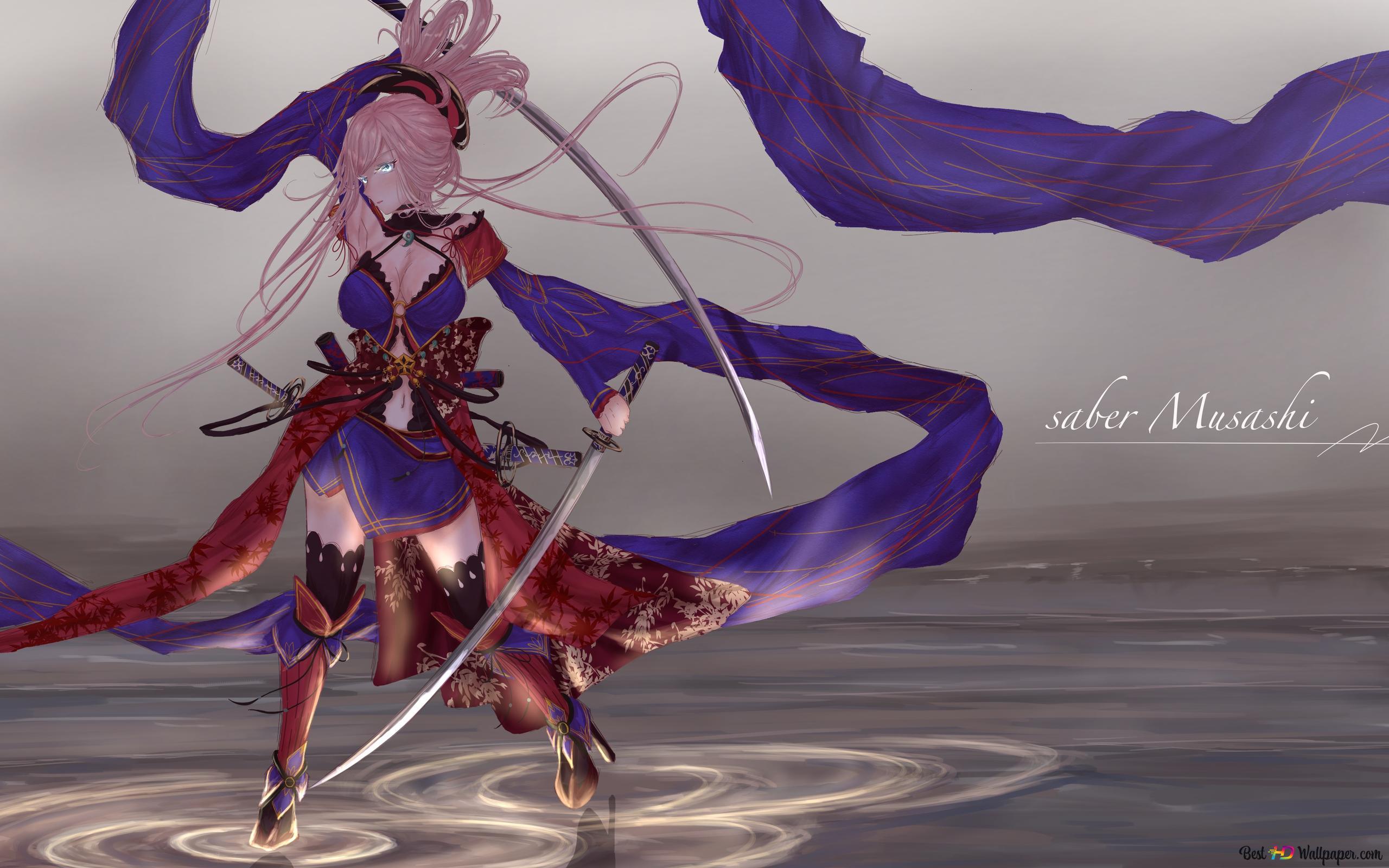 Fate Grand Order Miyamoto Musashi Saber Hd Wallpaper Download