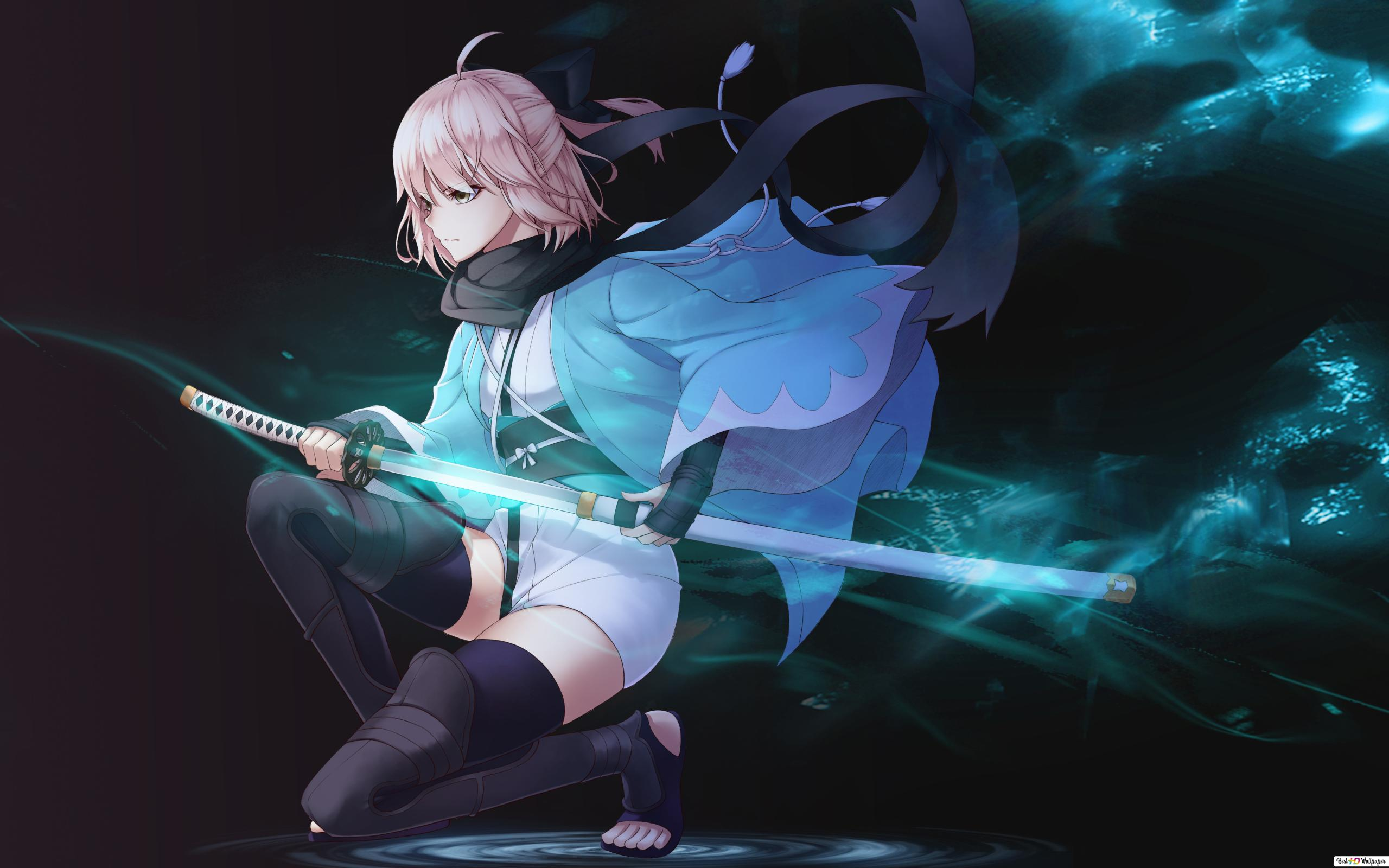 Fate Grand Order Okita Souji Sakura Saber Hd Wallpaper Download