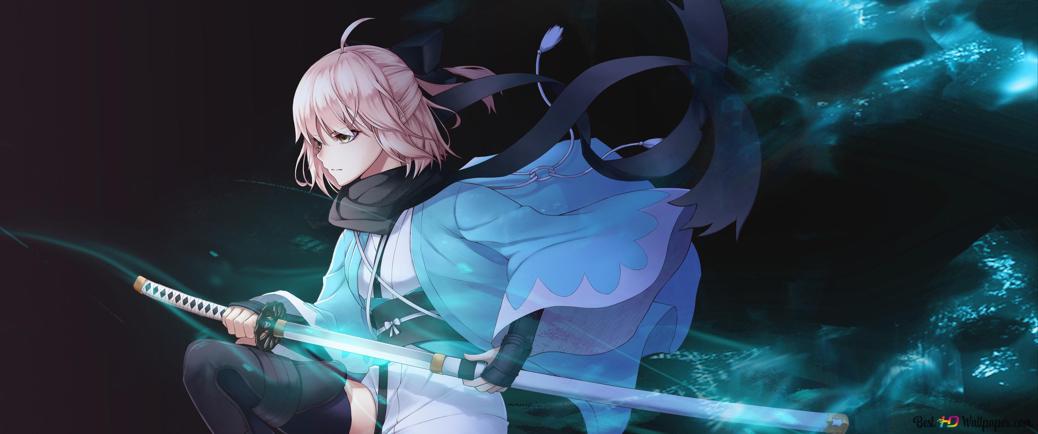 Fate Grand Order Okita Souji Sakura Saber Hd Wallpaper Download