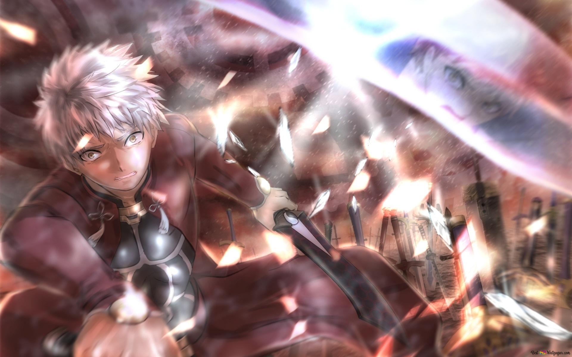 Fate Stay Night Unlimited Blade Works Shirou Emiya Vs Emiya Archer Hd Wallpaper Download