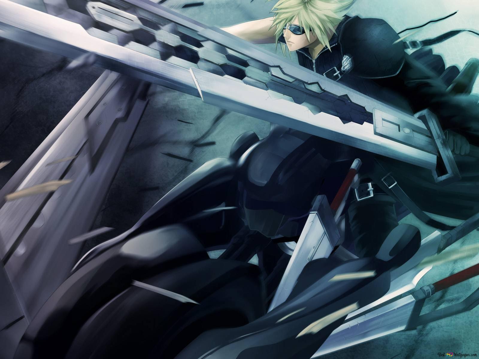 Final Fantasy Vii Advent Children Cloud Strife Fighting Hd