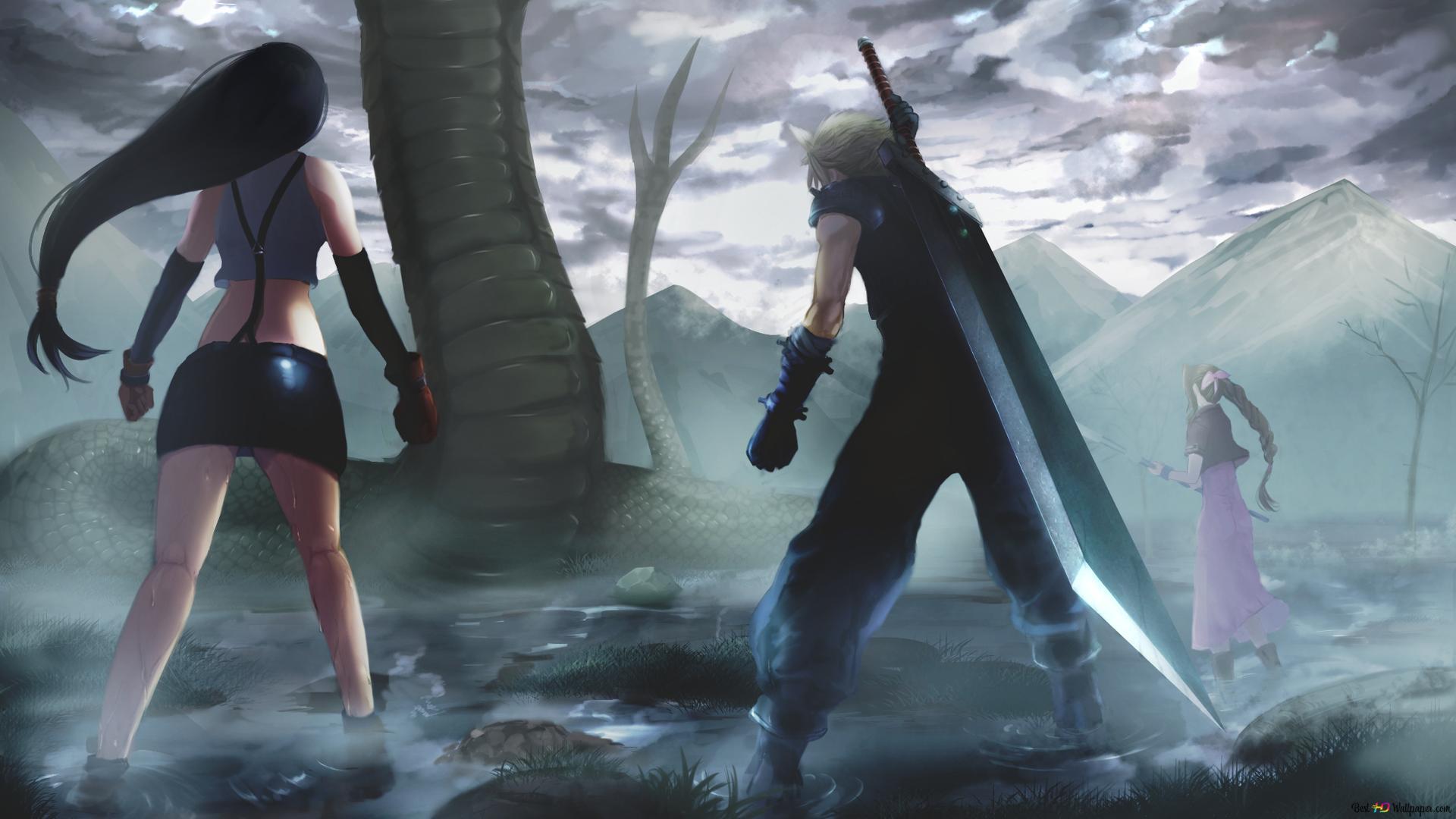 Final Fantasy Vii Tifa Lockhart Cloud Strife Aerith