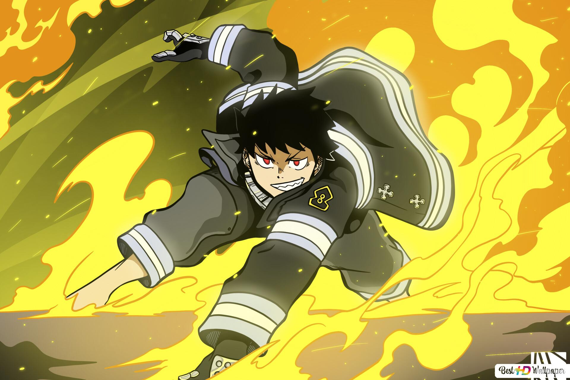 Fire Force Shinra Kusakabe Flames Hd Wallpaper Download