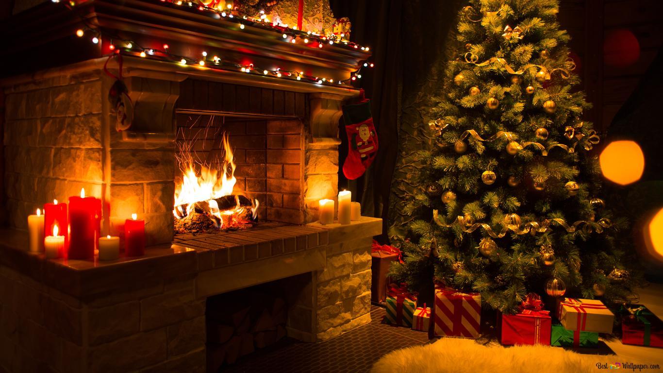 Sfondi Natalizi 1366x768.Fireplace And Christmas Tree Hd Wallpaper Download