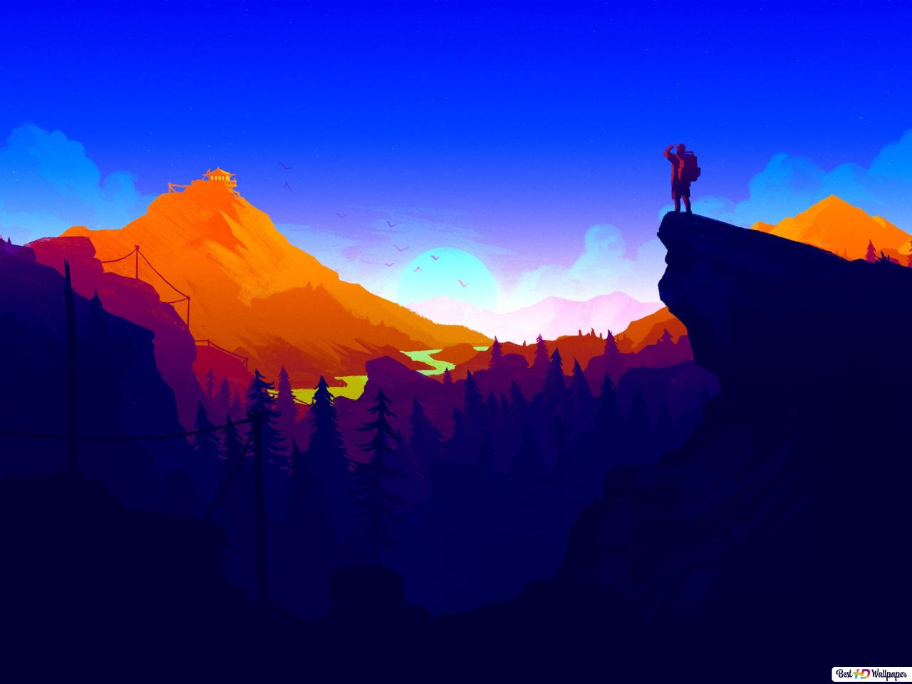 Firewatch Video Game Sunrise In Mountains Hd Wallpaper Download Images, Photos, Reviews