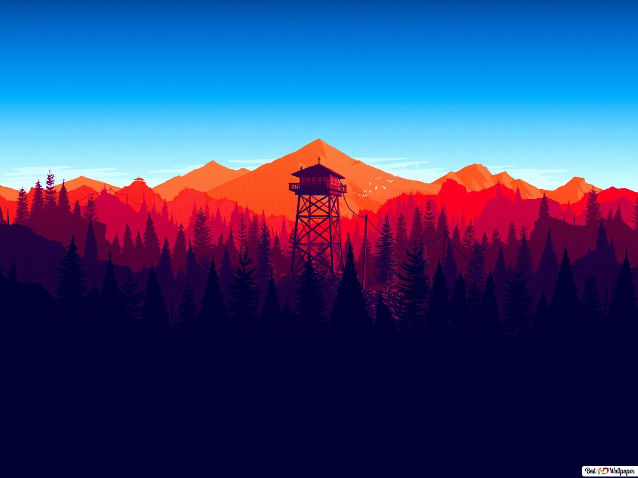 Firewatch Video Game Sunset In Mountains Hd Wallpaper Download Images, Photos, Reviews