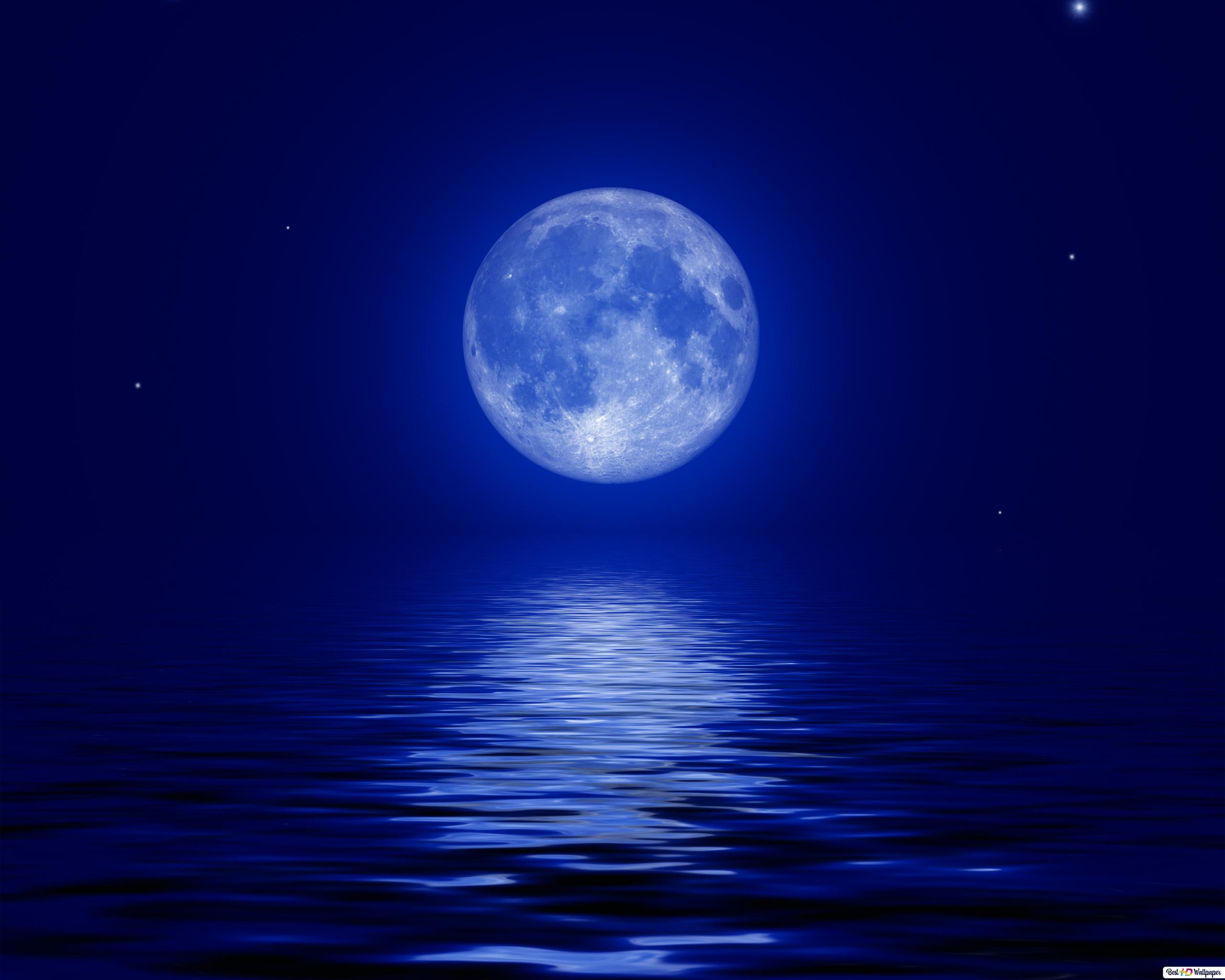 Full Moon Over The Sea Hd Wallpaper Download